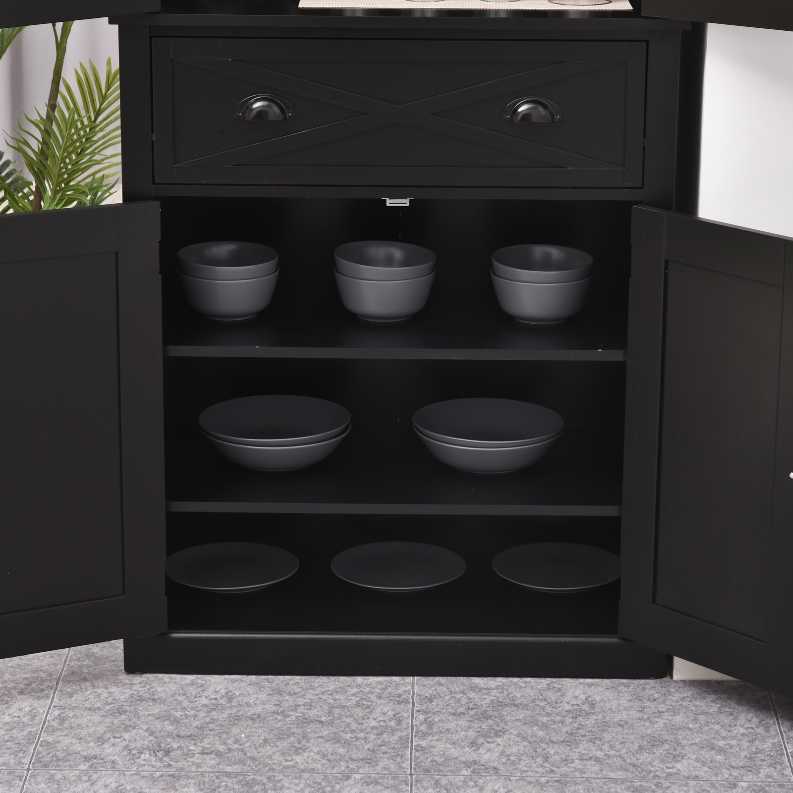 5ft Tall Wood Kitchen Storage Cabinet w/ Adjustable ...