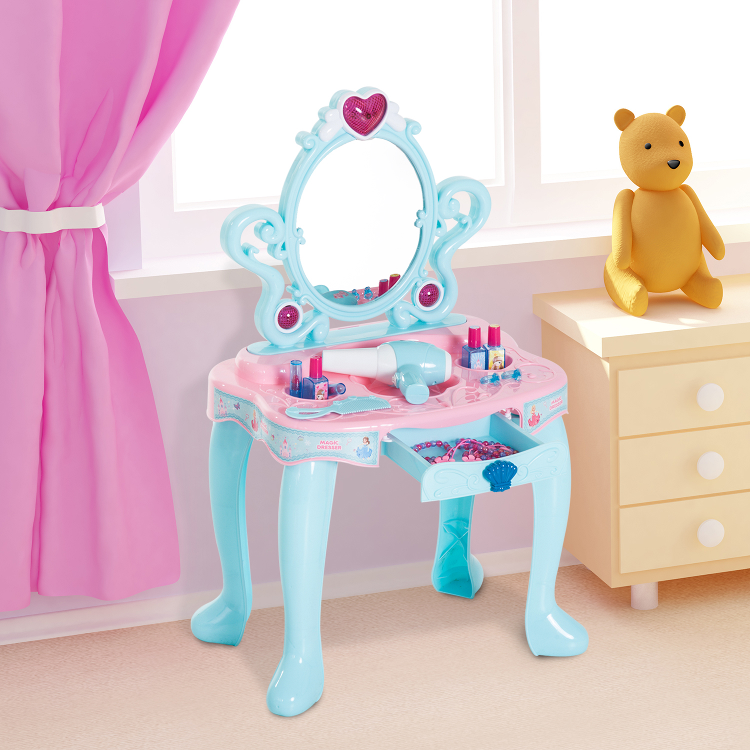 buy online 306f8 b6973 Details about Kids Pretend Play Vanity Table Dressing Makeup Accessories  Beauty Set w/ Mirror