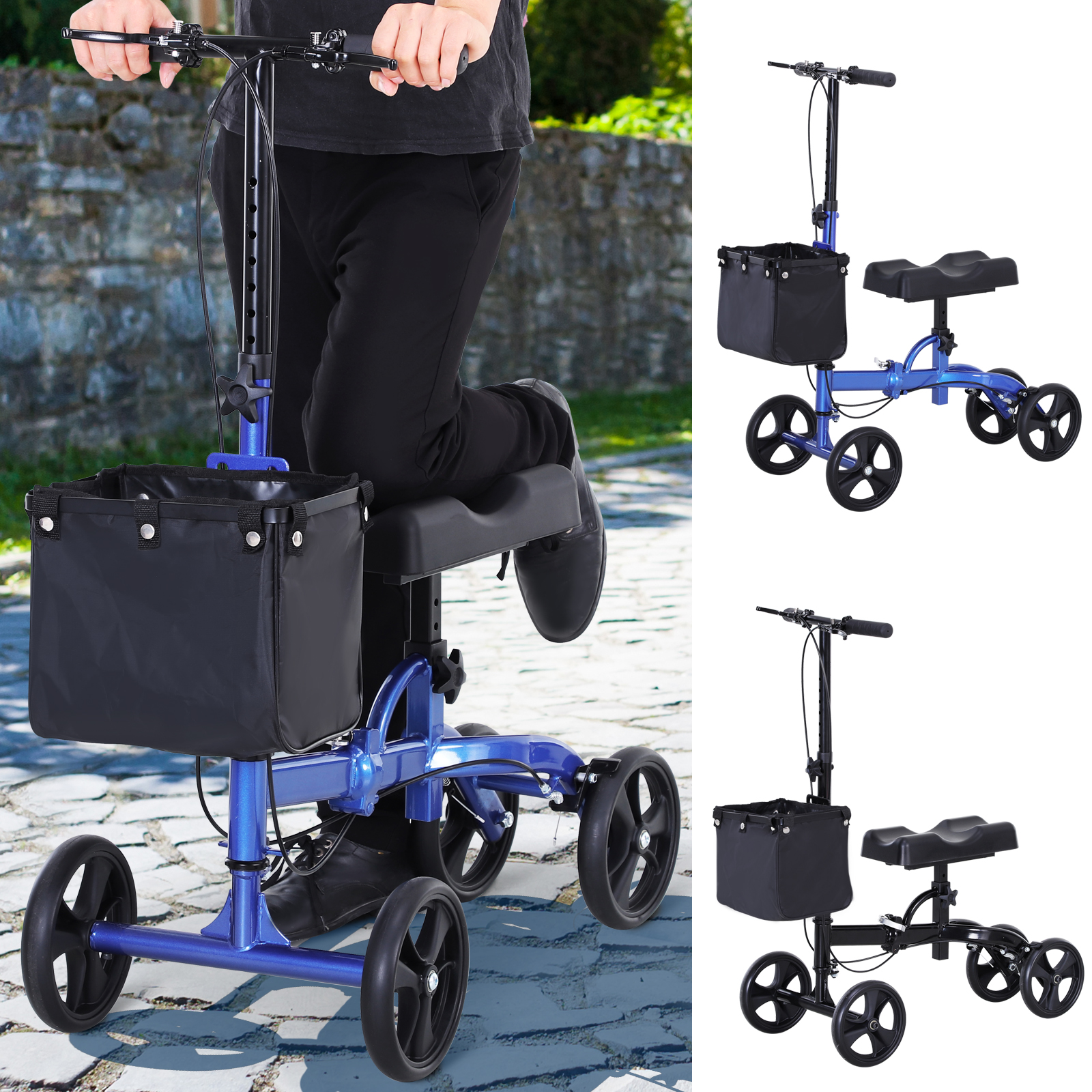 Magnificent Details About Medical Knee Walker Adjustable Height W Basket Pu Seat Rollator Bralicious Painted Fabric Chair Ideas Braliciousco