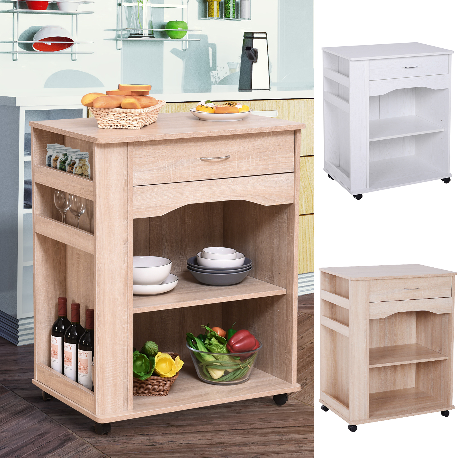 Details About 3 Tier Kitchen Serving Trolley Microwave Oven Utility Cart On Wheels W Drawer