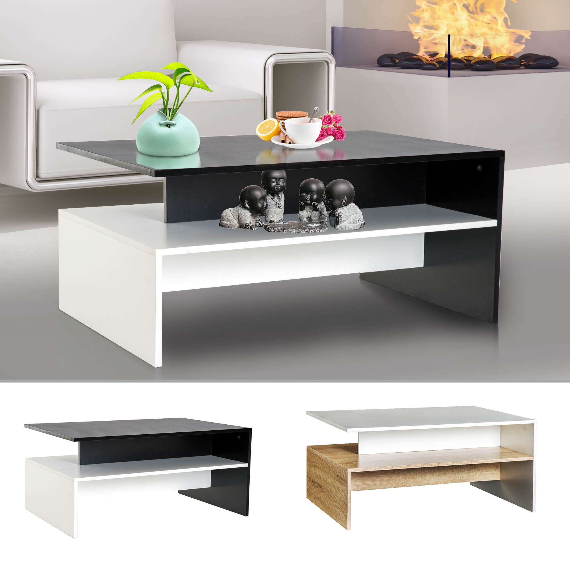 - Two-tone Modern 2-Tier Wooden Coffee Table Side Desk Living Room