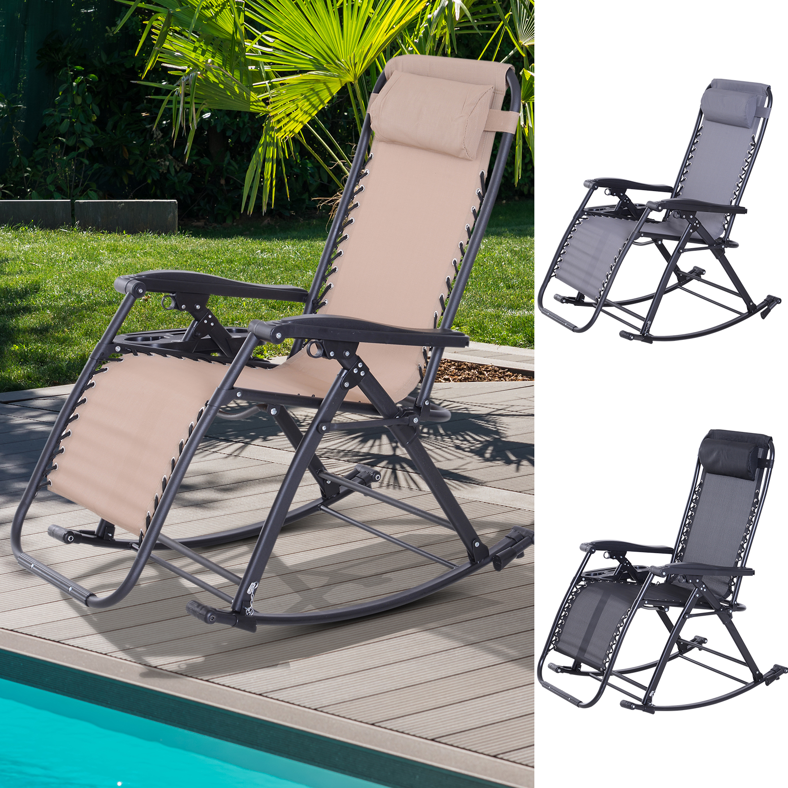 Swell Details About Zero Gravity Recliner Lounge Chair Patio Rocker Home Outdoor Napping Cup Holder Ocoug Best Dining Table And Chair Ideas Images Ocougorg