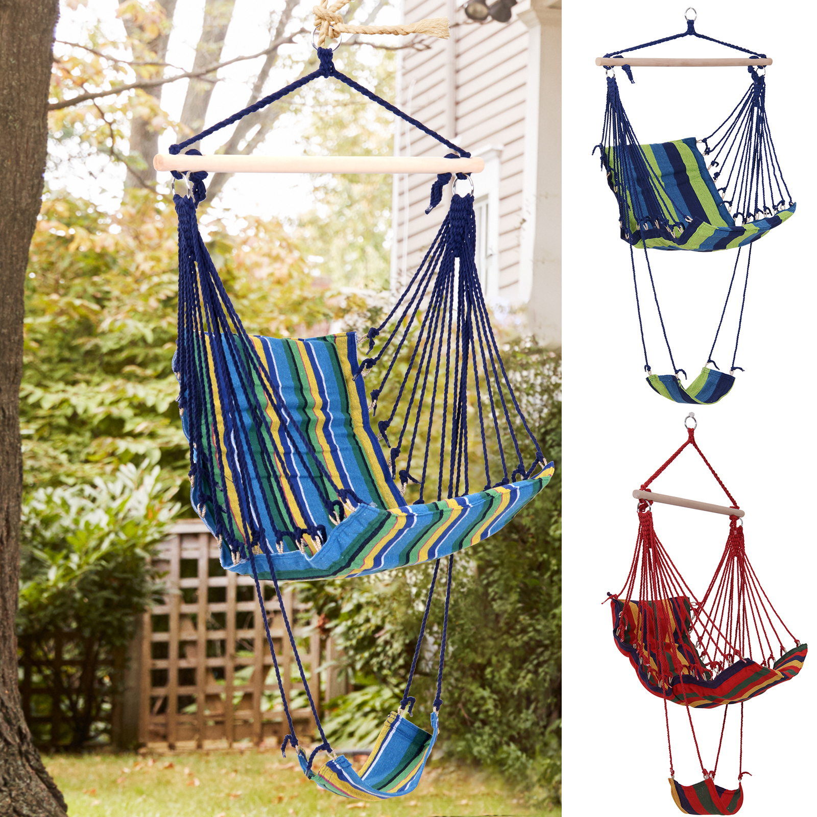 Details About Outsunny Portable Padded Wooden Hanging Hammock Swing Chair  Seat Indoor Outdoor