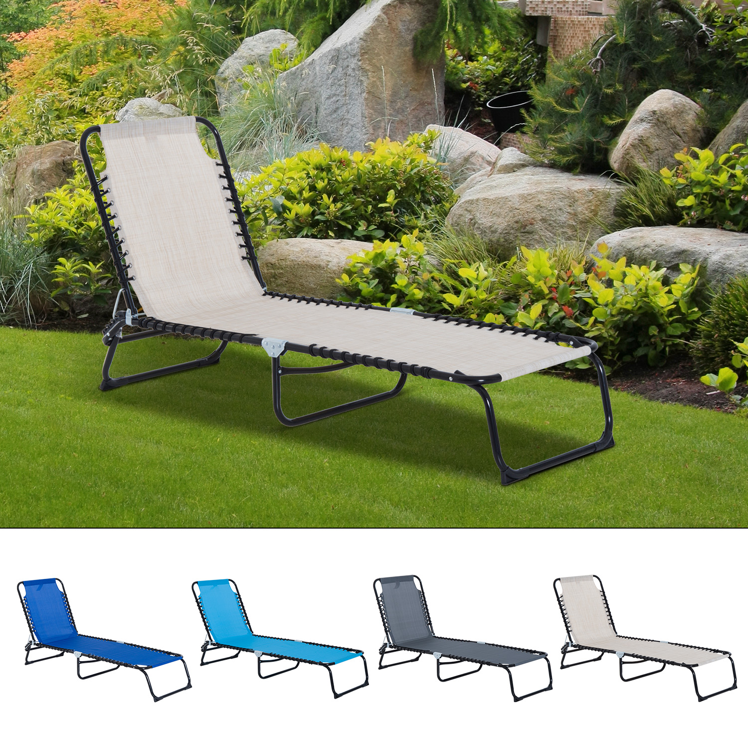 3 position portable reclining beach chaise lounge adjustable sleeping bed