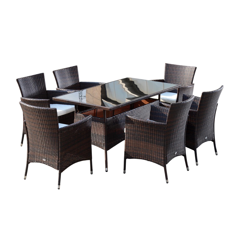 Patio Furniture Repair New Jersey: 6 Seats Outdoor Rattan Dining Set Garden Patio Furniture