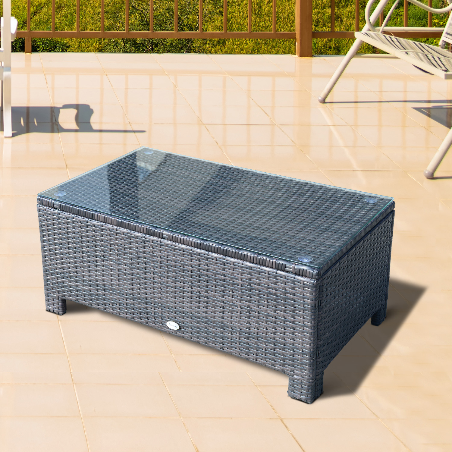 Prime Details About Outsunny Rattan Coffee Side Table Garden Patio Conservatory Tempered Glass Brown Download Free Architecture Designs Aeocymadebymaigaardcom
