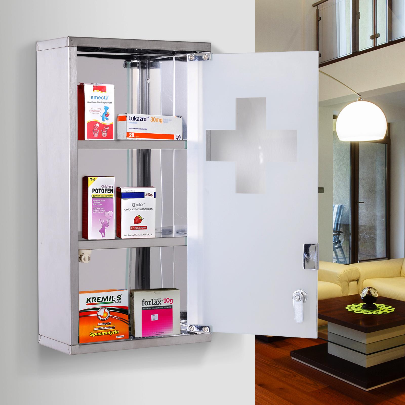 Homcom Wall Mounted Medicine Cabinet First Aid Box Glass Door Lockable Ebay