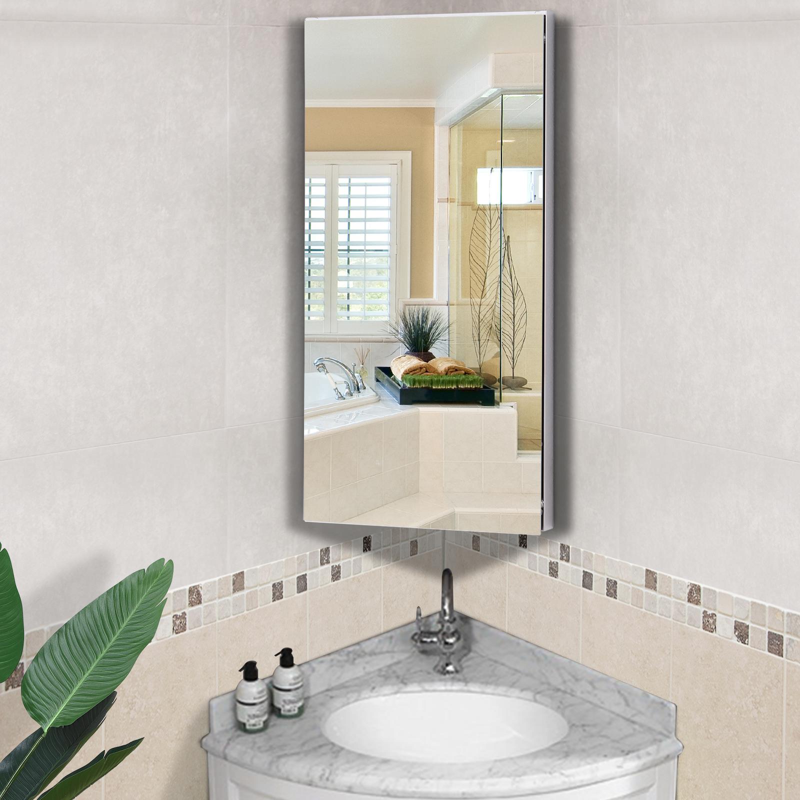 Homcom Bathroom Corner Wall Mirror Storage Cabinet Cupboard Stainless Steel Ebay