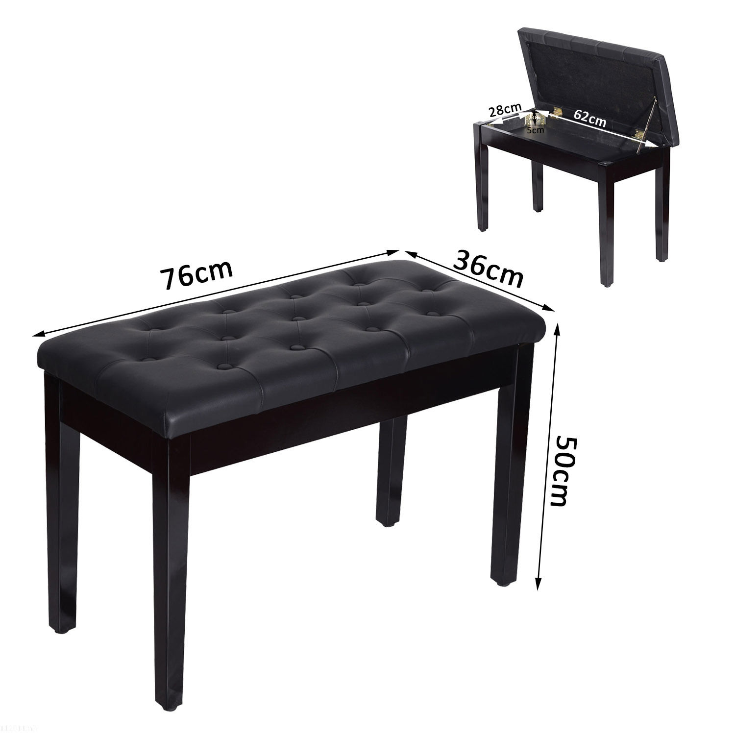 Phenomenal Details About Homcom Classic Piano Bench Padded Seat Stool Solid Wood Wooden Gmtry Best Dining Table And Chair Ideas Images Gmtryco