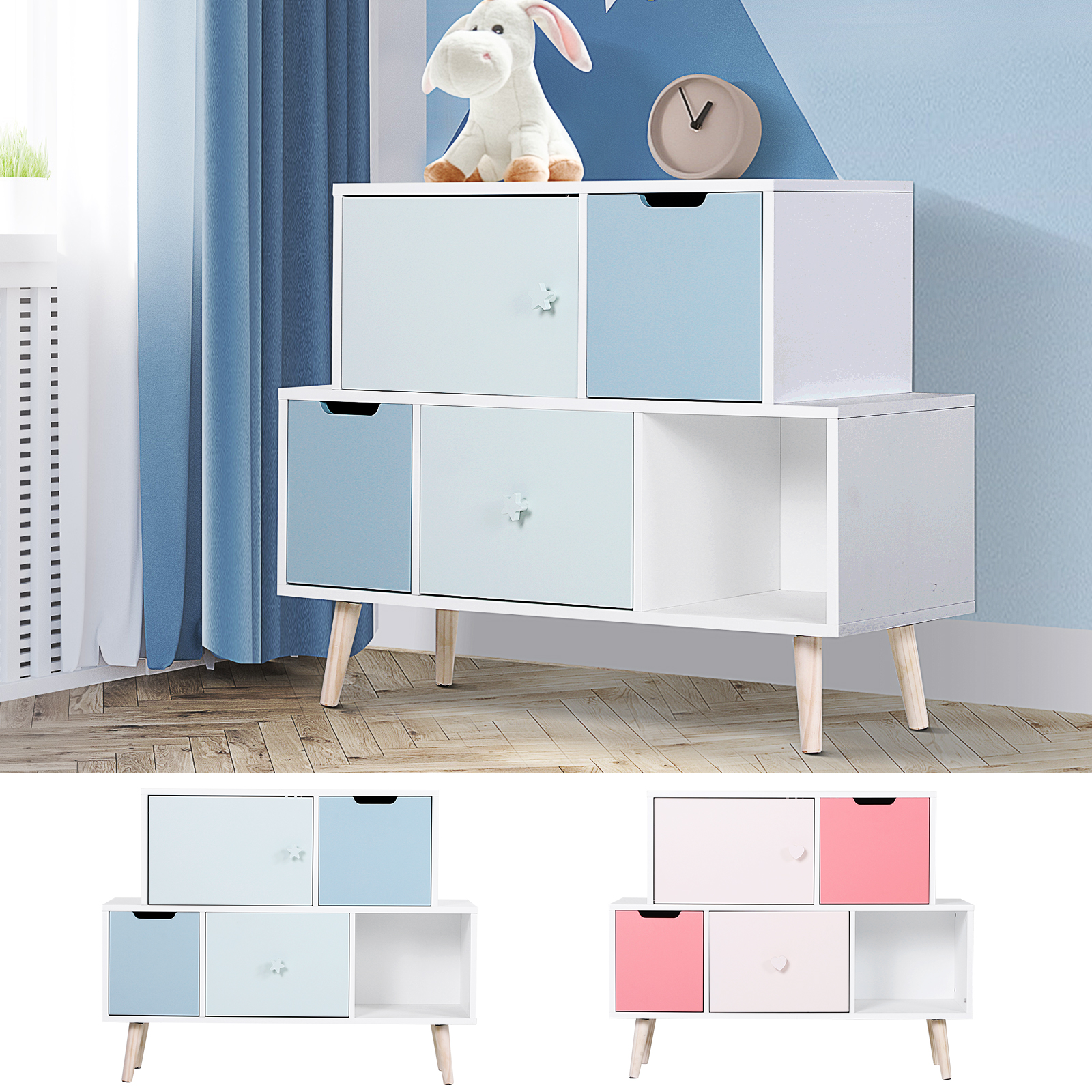 Picture of: Baby Cabinet Storage Units 3 Drawer Cute Toy Storage Kids Bedroom Furniture Ebay