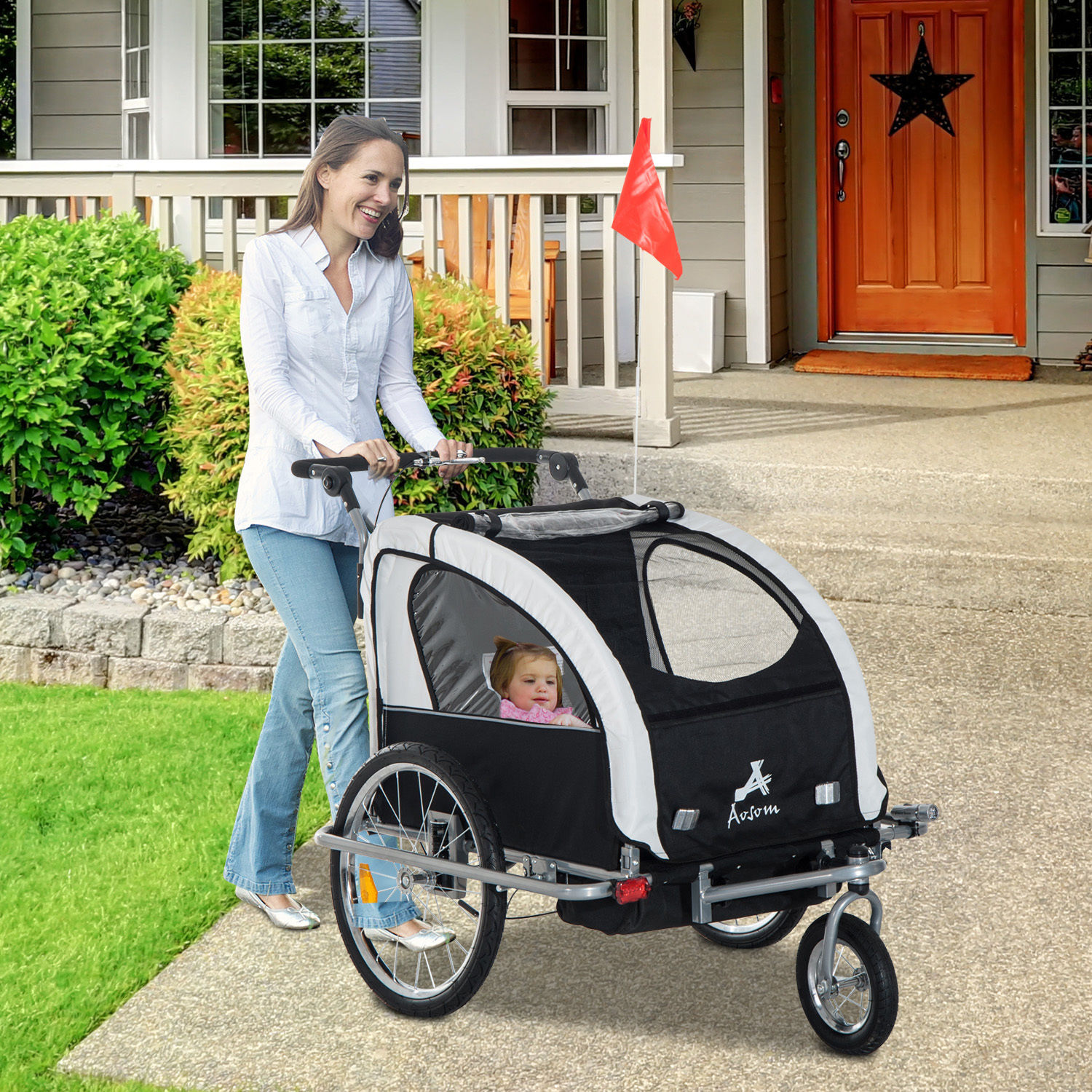 2-Seater-Child-Bike-Trailer-Kids-Carrier-Safety-Harness-Baby-Stroller-Jogger thumbnail 18