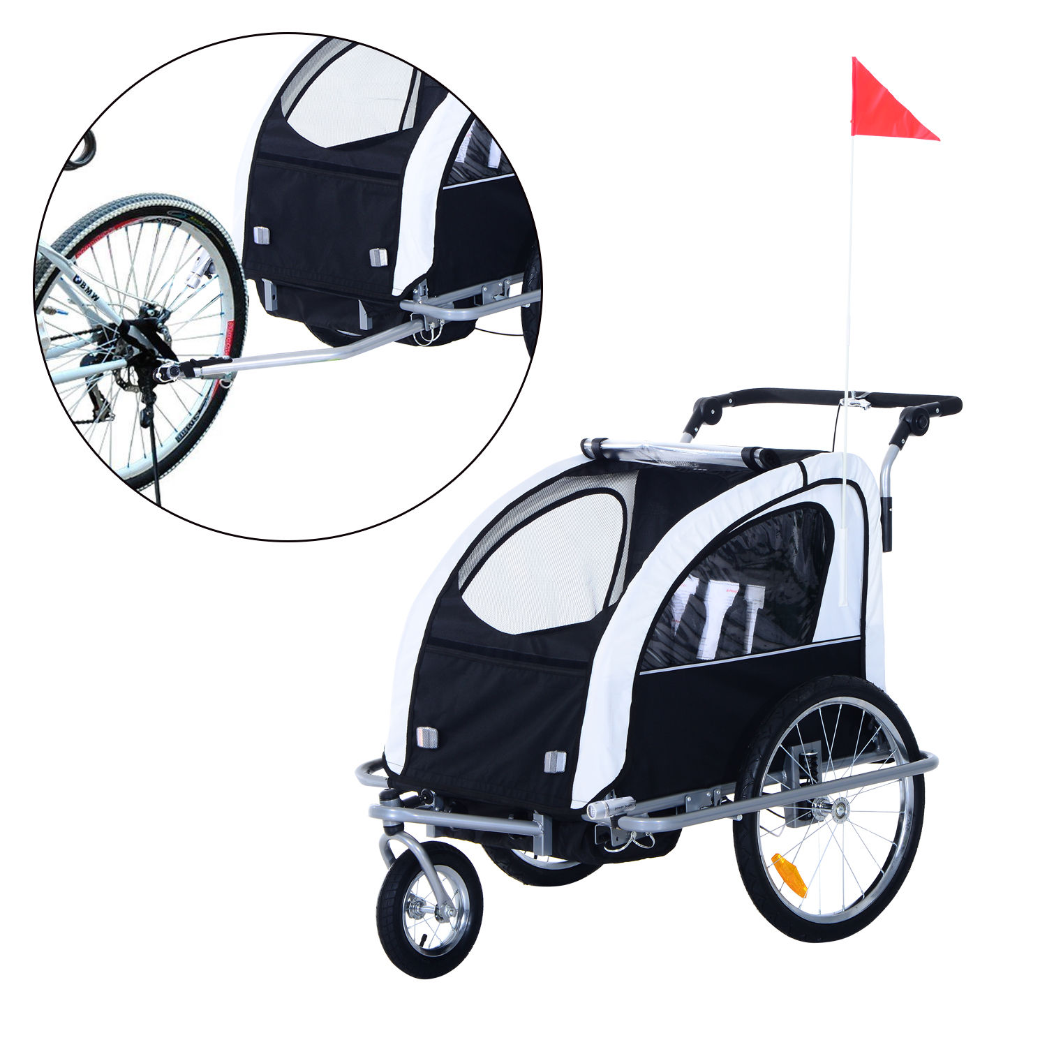 2-Seater-Child-Bike-Trailer-Kids-Carrier-Safety-Harness-Baby-Stroller-Jogger thumbnail 17