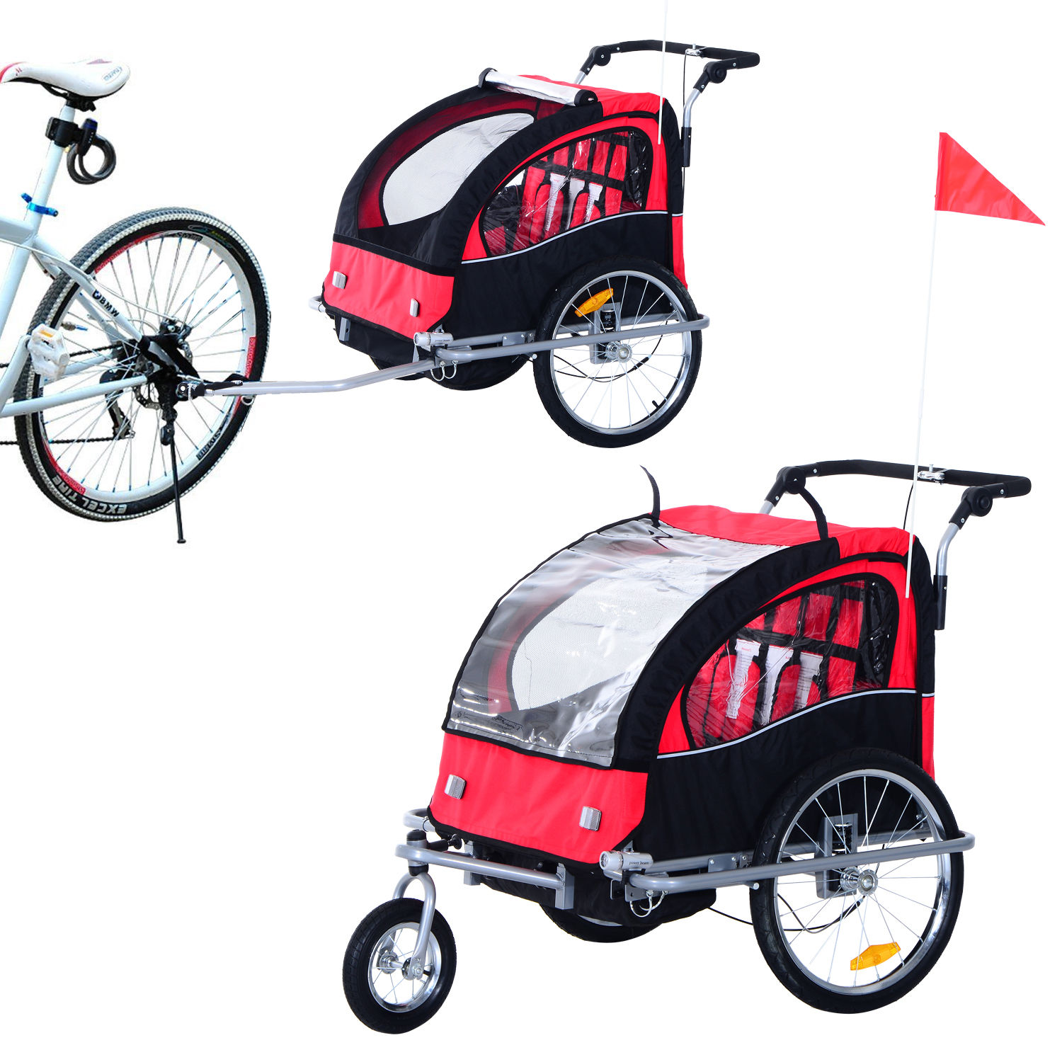 2-Seater-Child-Bike-Trailer-Kids-Carrier-Safety-Harness-Baby-Stroller-Jogger thumbnail 5
