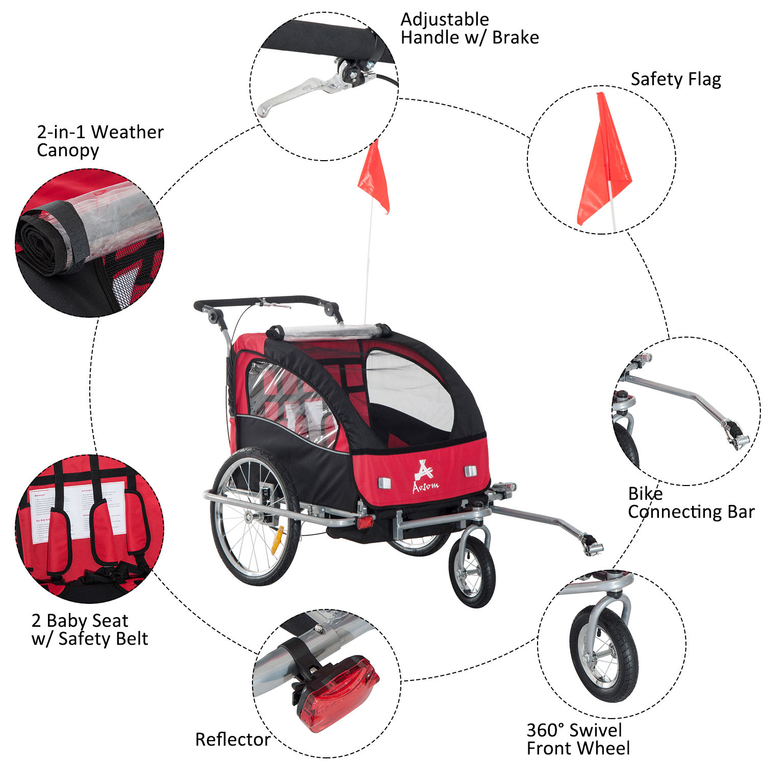 2-Seater-Child-Bike-Trailer-Kids-Carrier-Safety-Harness-Baby-Stroller-Jogger thumbnail 6