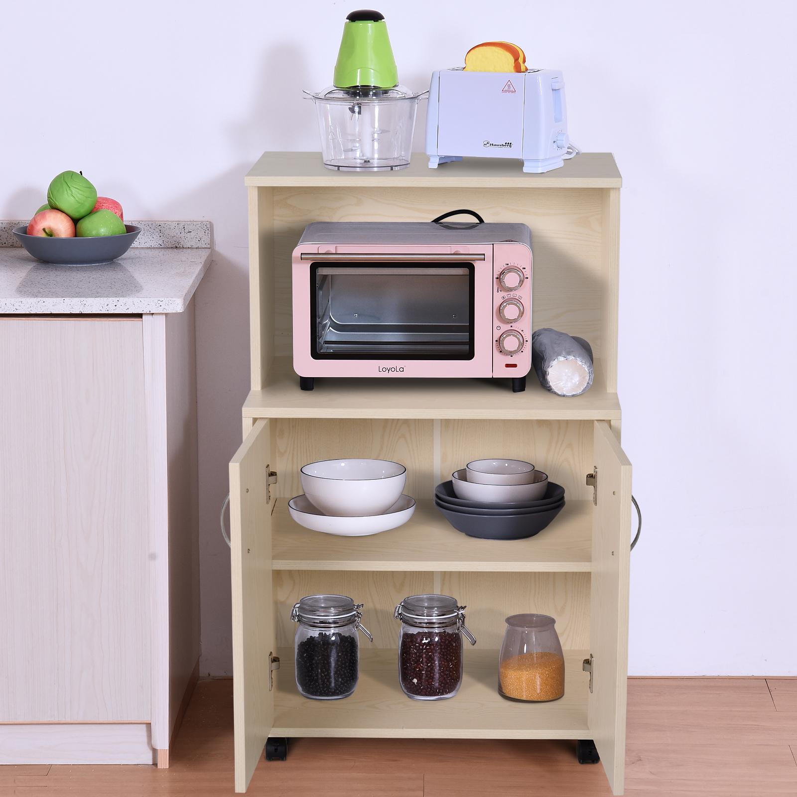 HOMCOM Rolling Kitchen Trolley Microwave Cart 2-Door Cabinet Storage Shelves w//Wheels Oak