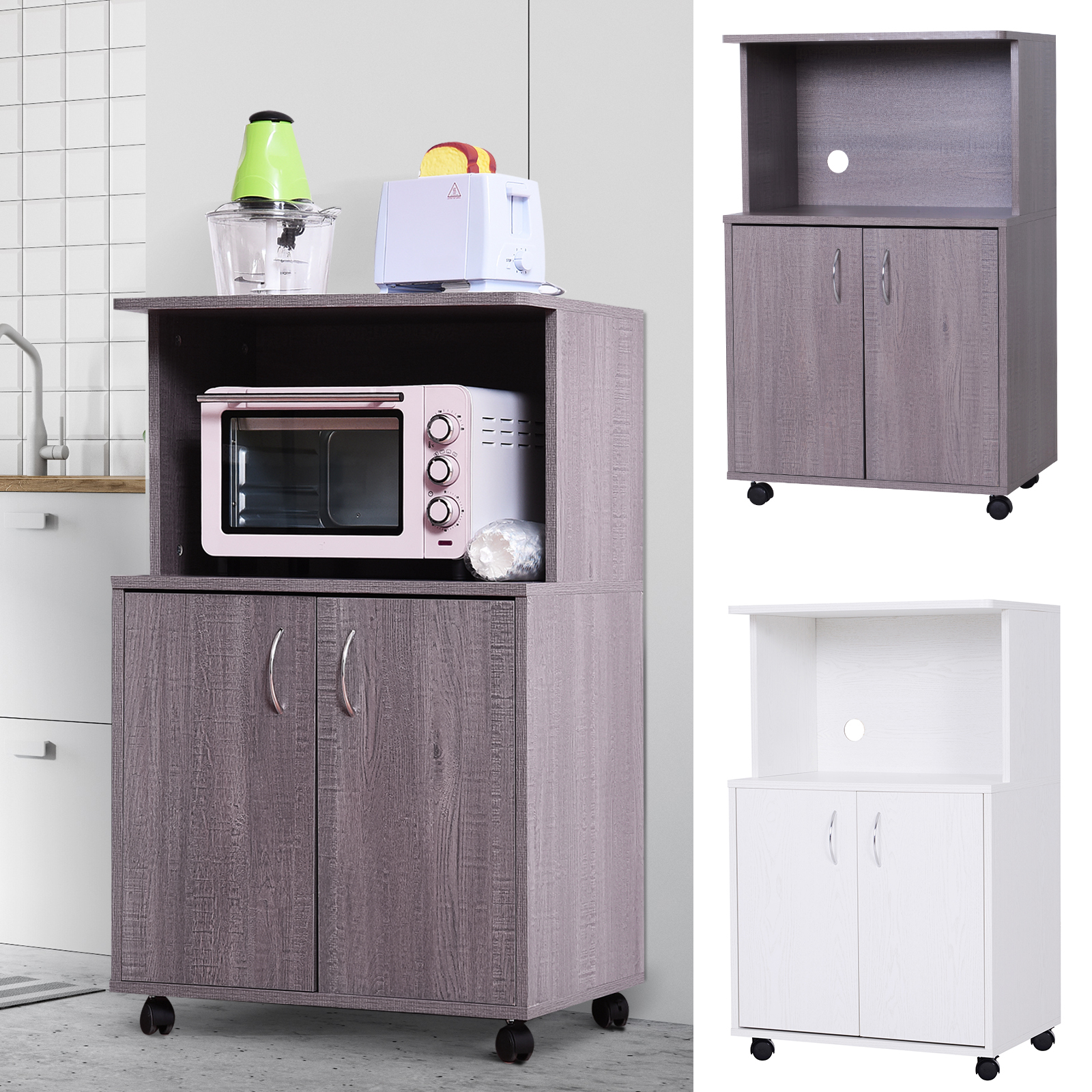 Pleasant Details About Rolling Kitchen Trolley Microwave Cart 2 Door Cabinet Storage Shelves W Wheels Home Remodeling Inspirations Propsscottssportslandcom