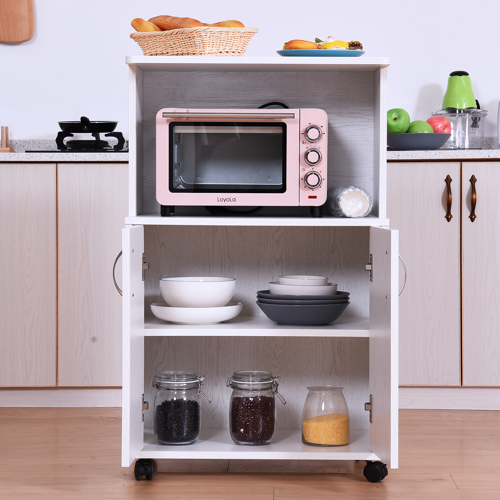 Miraculous Details About Rolling Kitchen Trolley Microwave Cart 2 Door Cabinet Storage Shelves W Wheels Home Remodeling Inspirations Propsscottssportslandcom