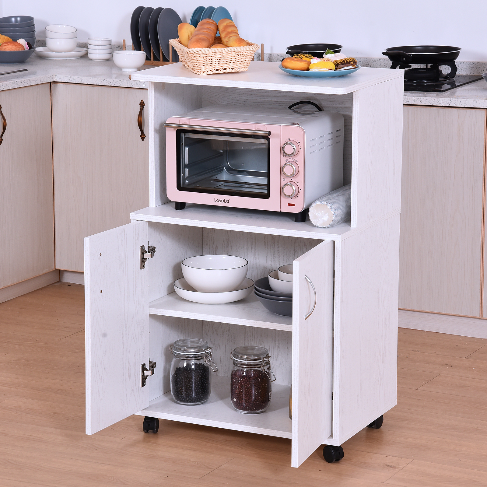 Wondrous Details About Homcom Rolling Kitchen Trolley Microwave Cart 2 Door Cabinet Shelves White Home Remodeling Inspirations Propsscottssportslandcom