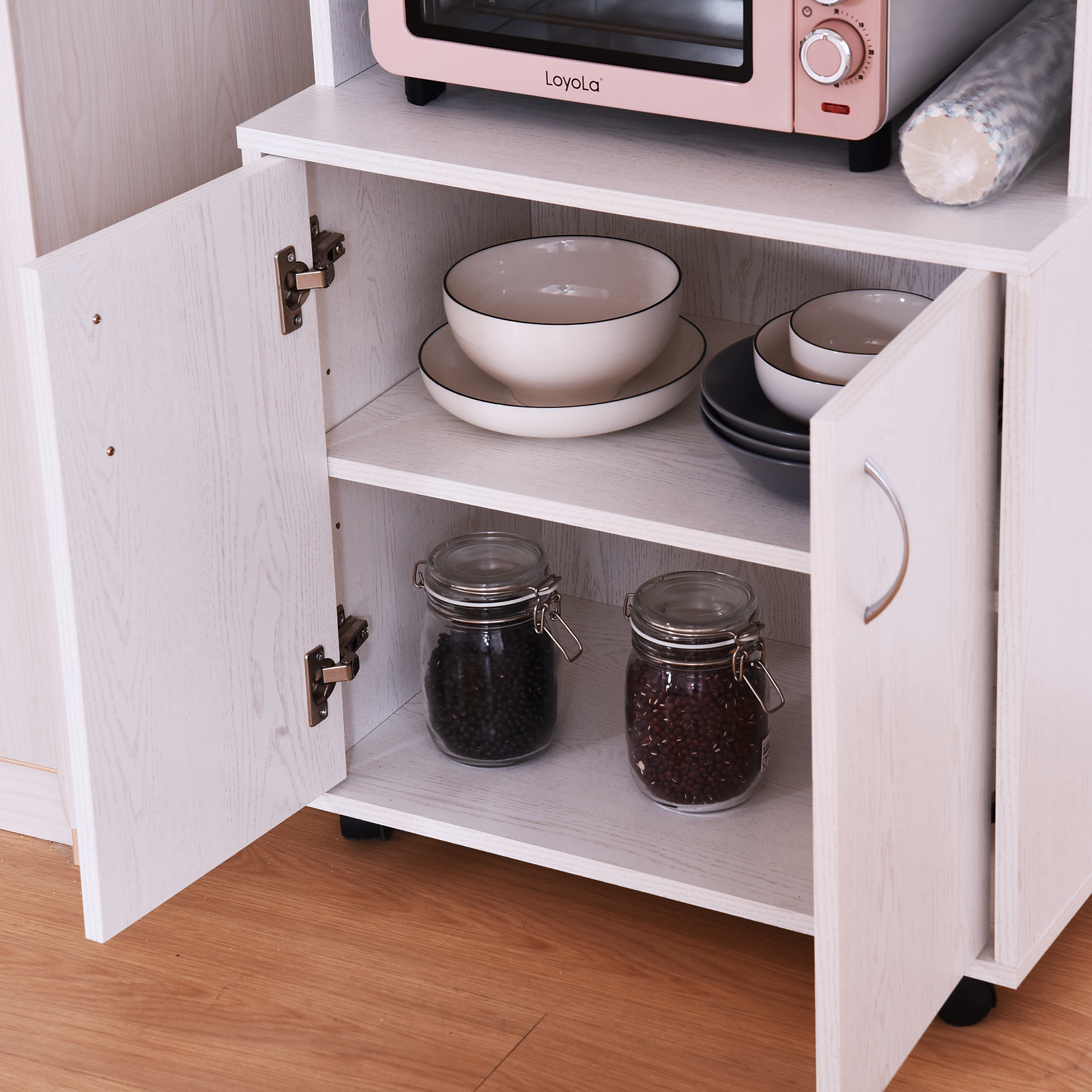 Tremendous Details About Rolling Kitchen Trolley Microwave Cart 2 Door Cabinet Storage Shelves W Wheels Home Remodeling Inspirations Propsscottssportslandcom