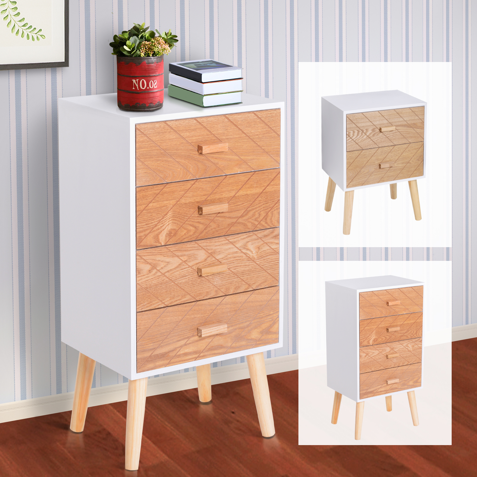 Details About Nordic Style Scandinavian Bedside Table Drawers Cabinet Solid Wood Legs Bedroom