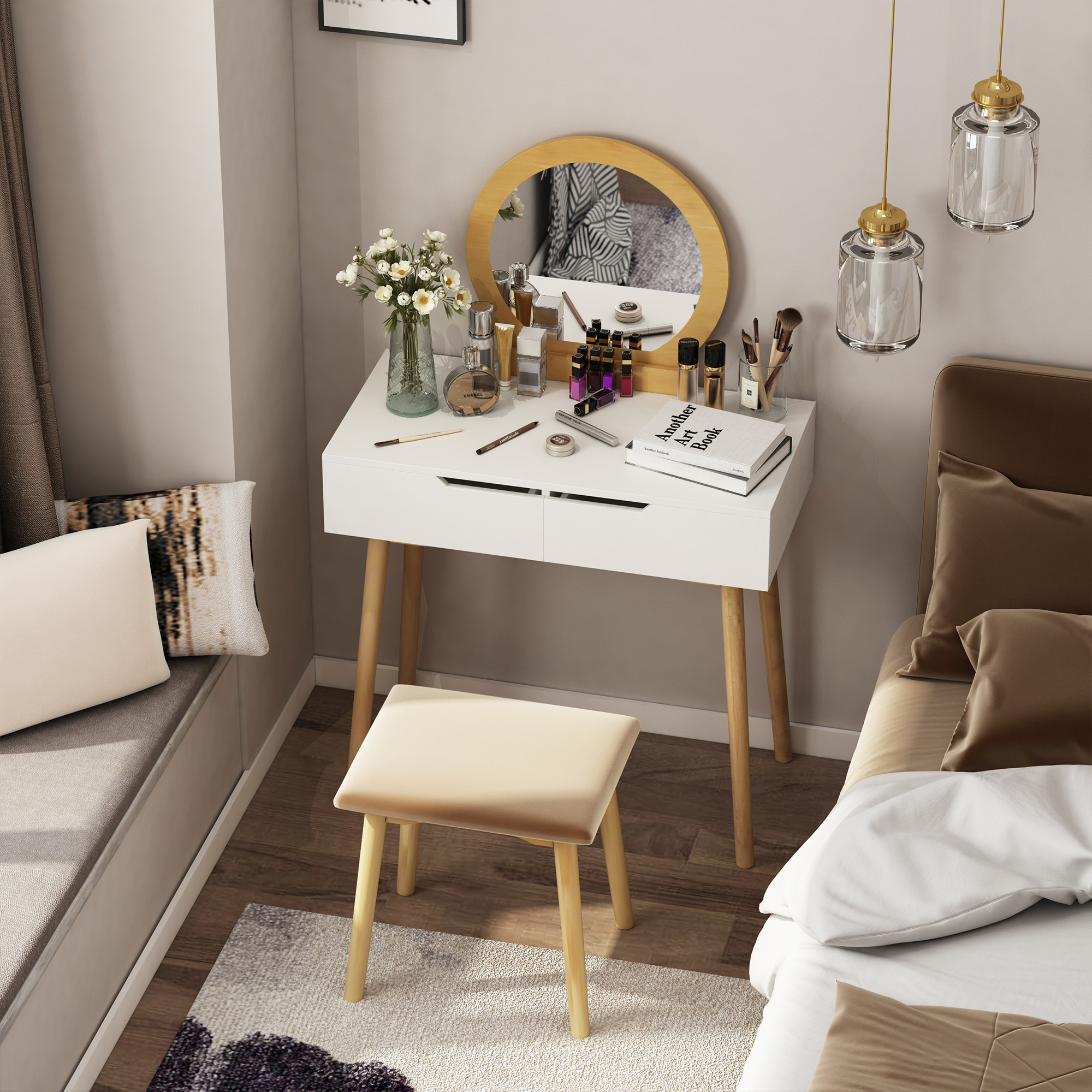 thumbnail 4 - Vanity Table Set Dressing Table w/ Cushioned Stool Drawer Makeup Table