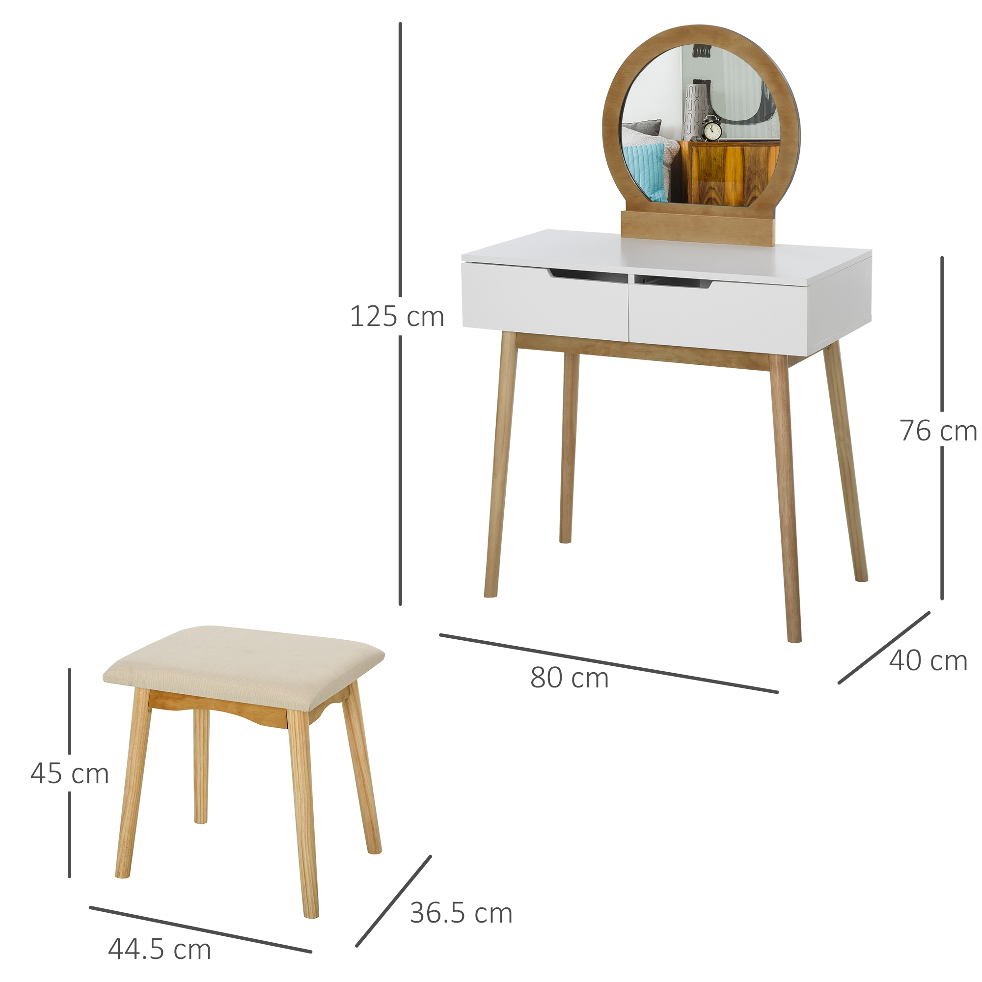 thumbnail 3 - Vanity Table Set Dressing Table w/ Cushioned Stool Drawer Makeup Table