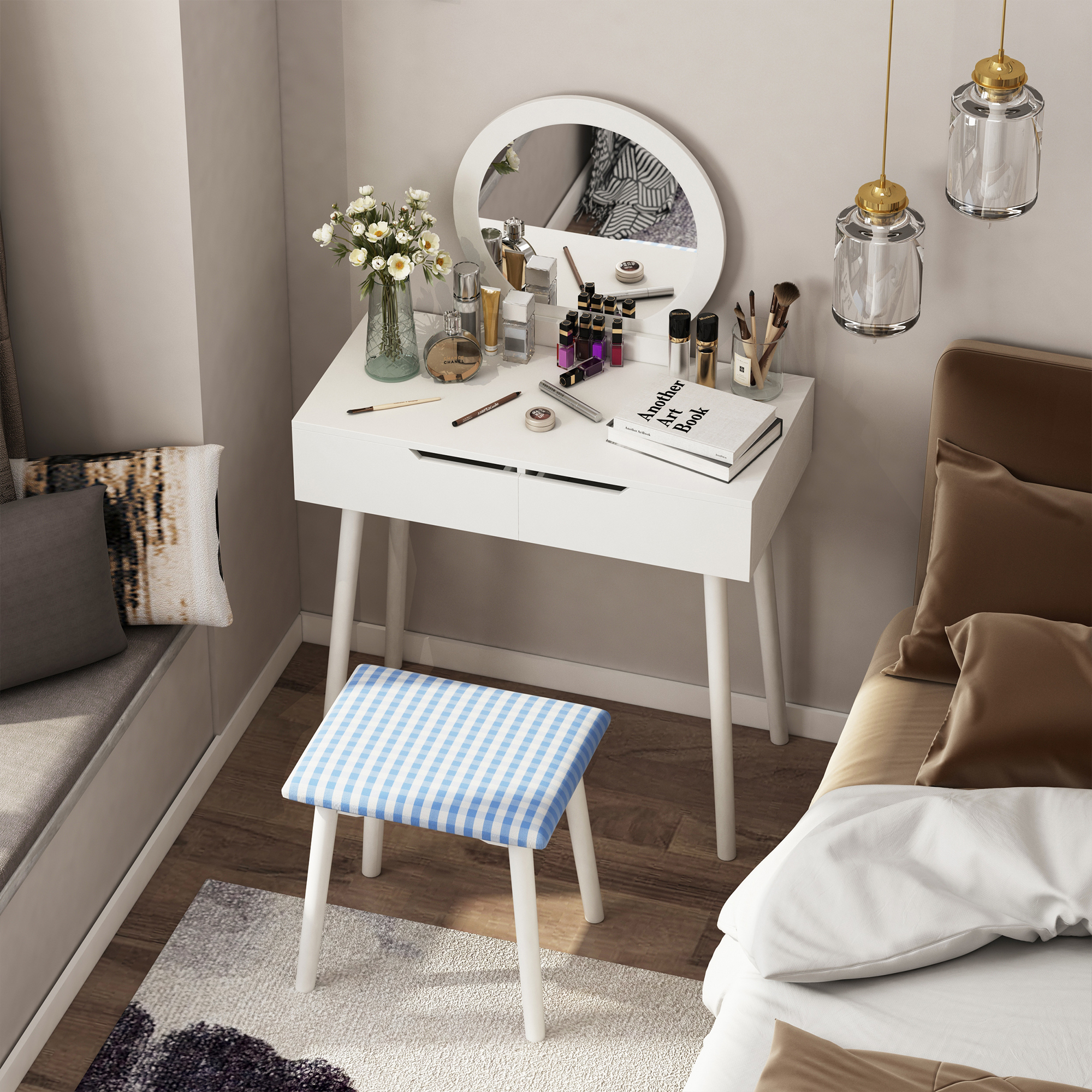thumbnail 12 - Vanity Table Set Dressing Table w/ Cushioned Stool Drawer Makeup Table