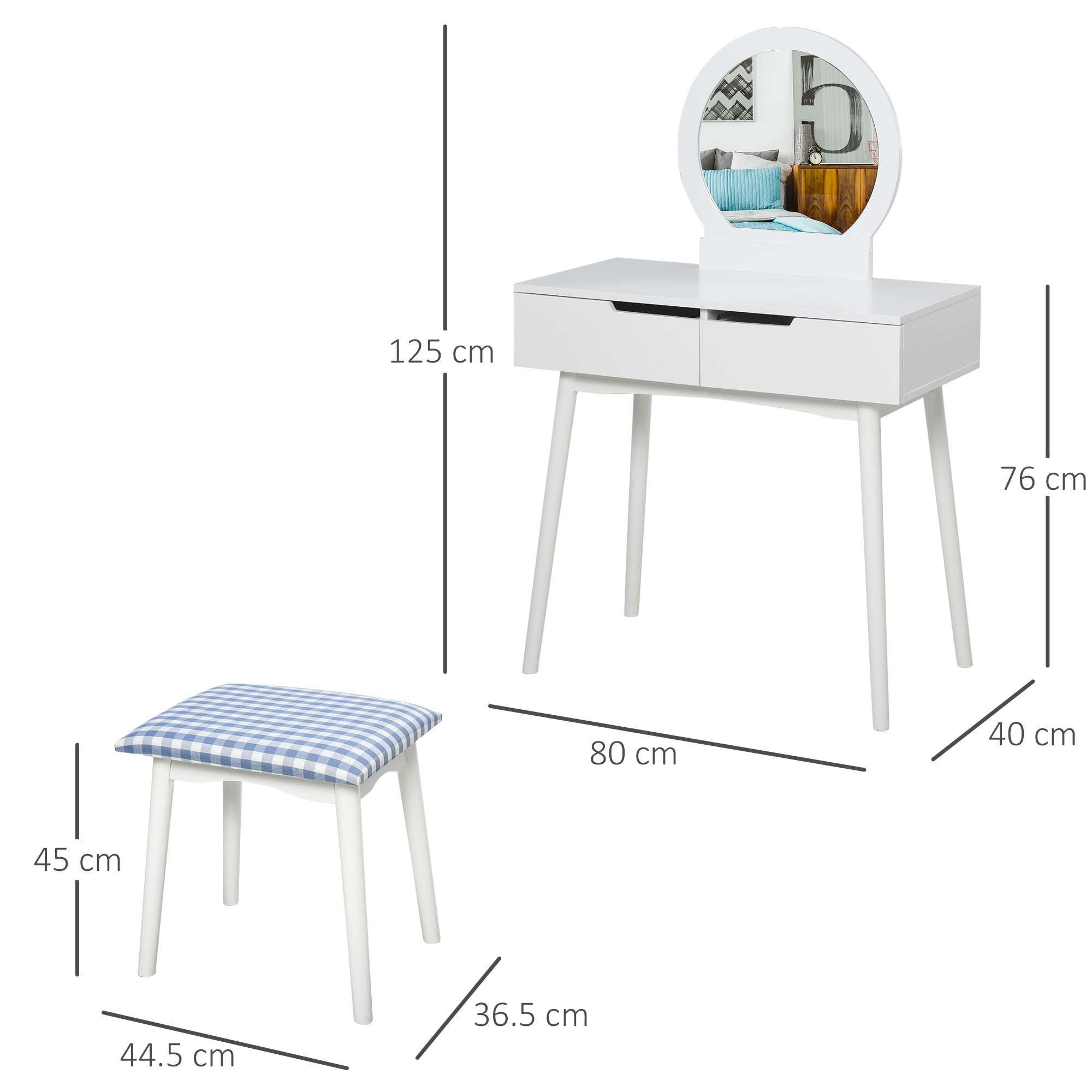 thumbnail 11 - Vanity Table Set Dressing Table w/ Cushioned Stool Drawer Makeup Table