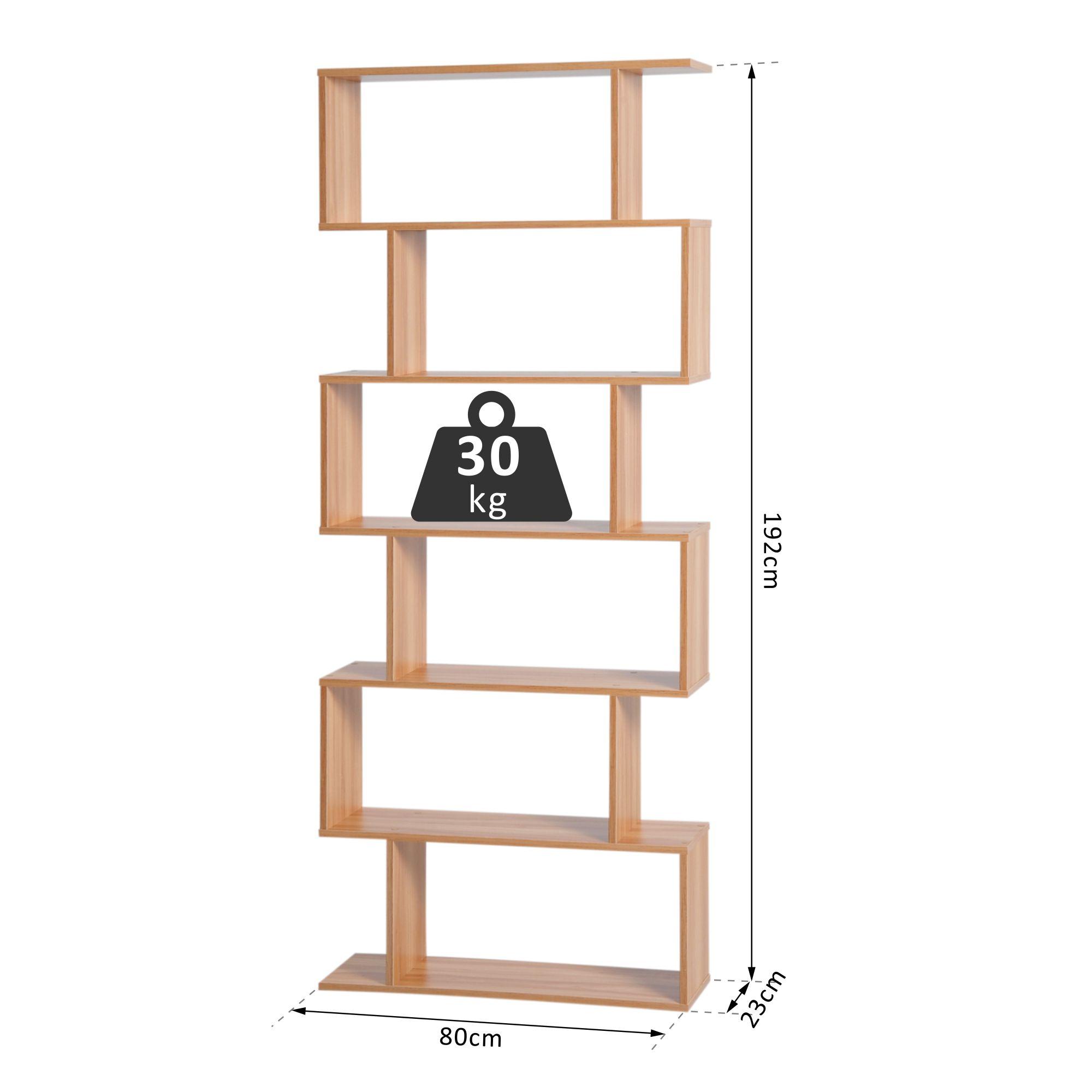 6 Tier Wooden Modern S Shaped Shelf Unit Storage Display