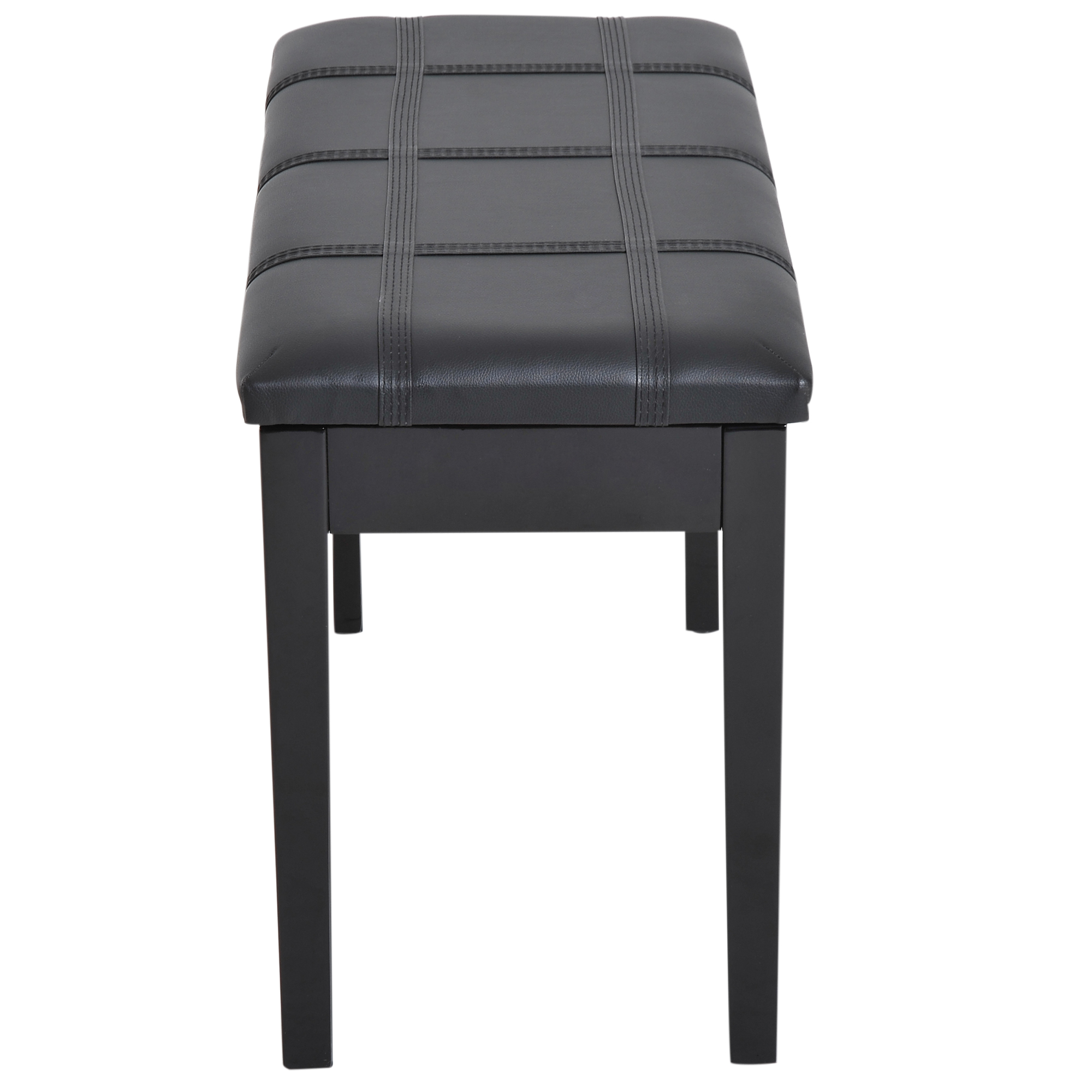 Two-Person-Lift-Top-Piano-Storage-Bench-Faux-Leather-Keyboard-Stool-Birchwood thumbnail 9