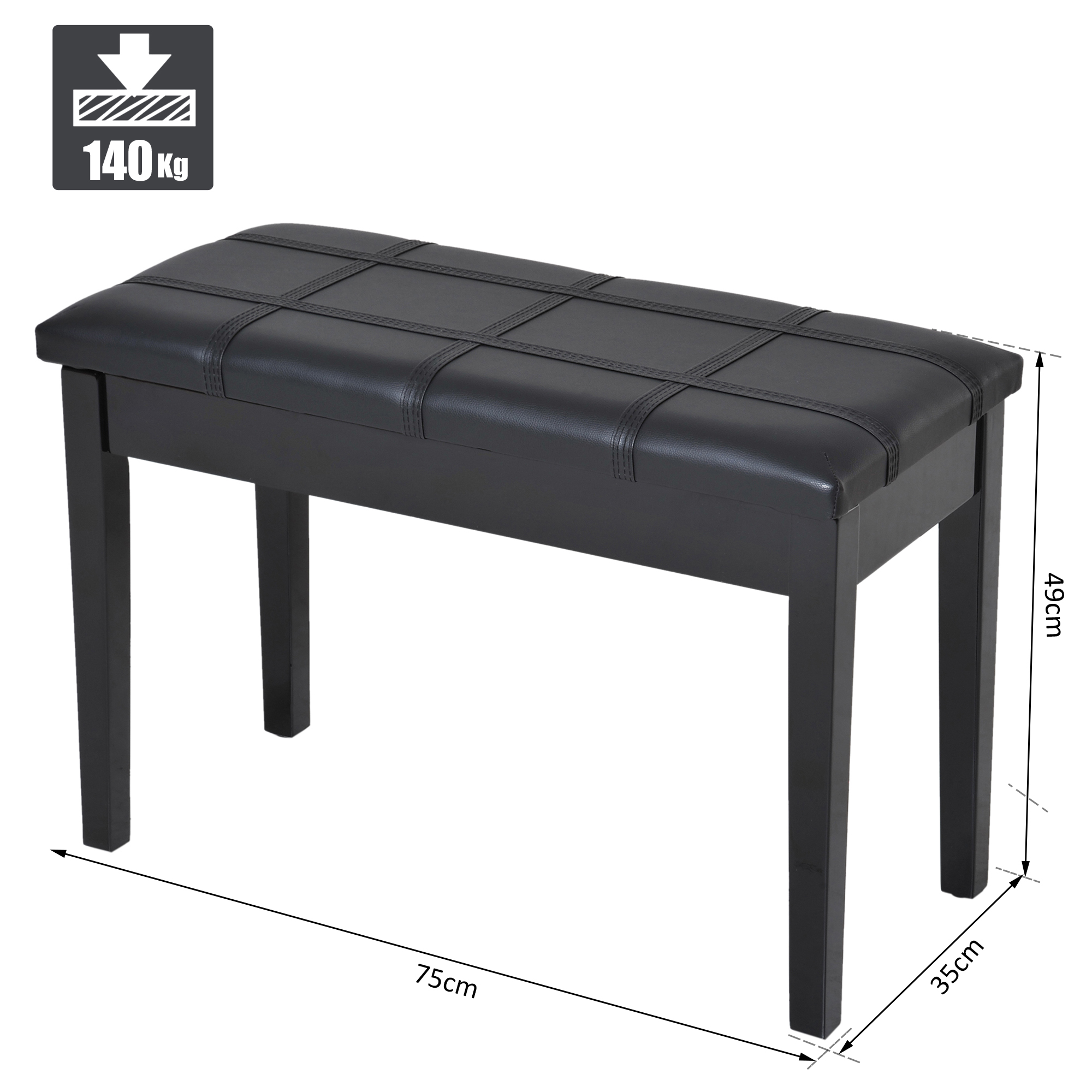 Two-Person-Lift-Top-Piano-Storage-Bench-Faux-Leather-Keyboard-Stool-Birchwood thumbnail 3