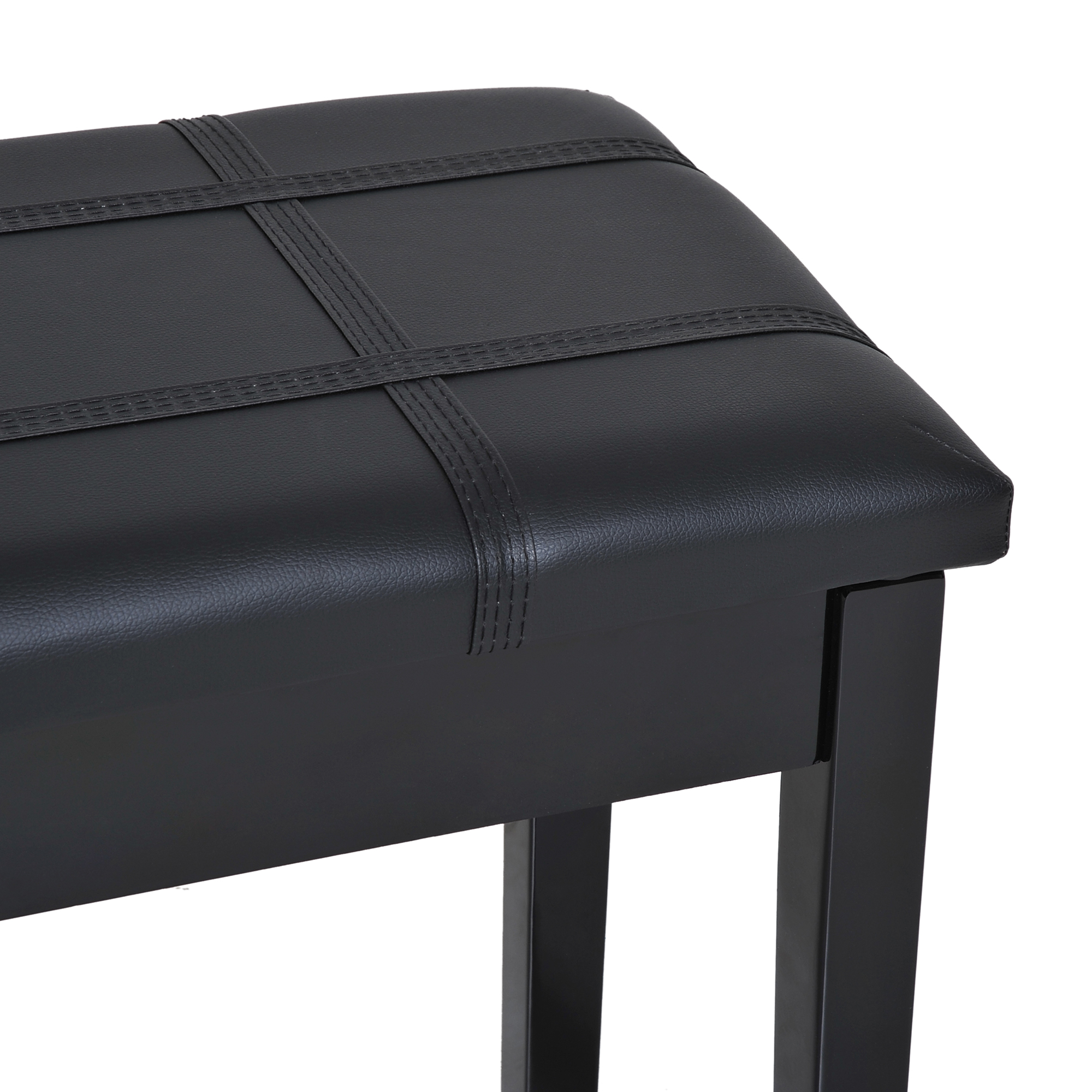 Two-Person-Lift-Top-Piano-Storage-Bench-Faux-Leather-Keyboard-Stool-Birchwood thumbnail 6