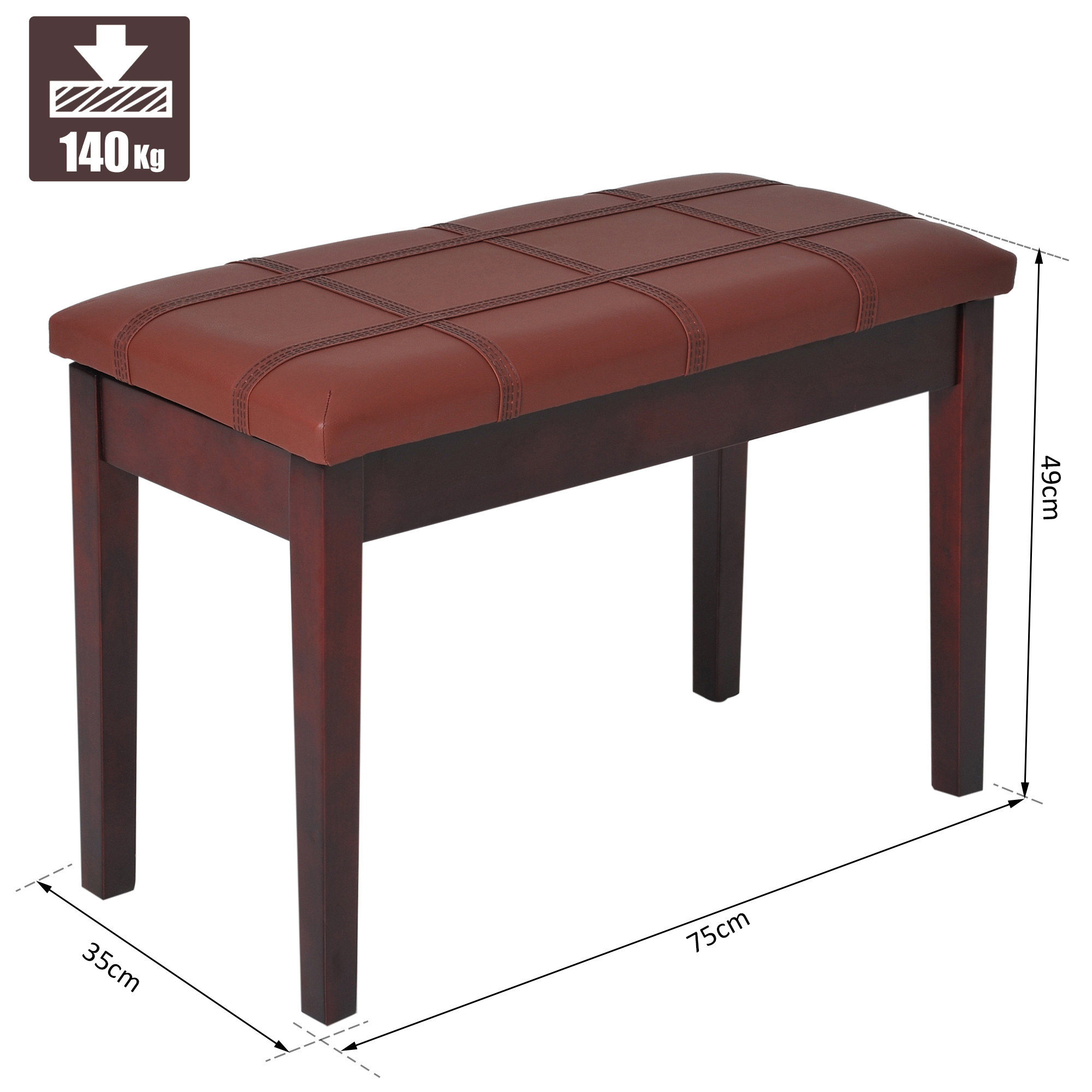 Two-Person-Lift-Top-Piano-Storage-Bench-Faux-Leather-Keyboard-Stool-Birchwood thumbnail 12