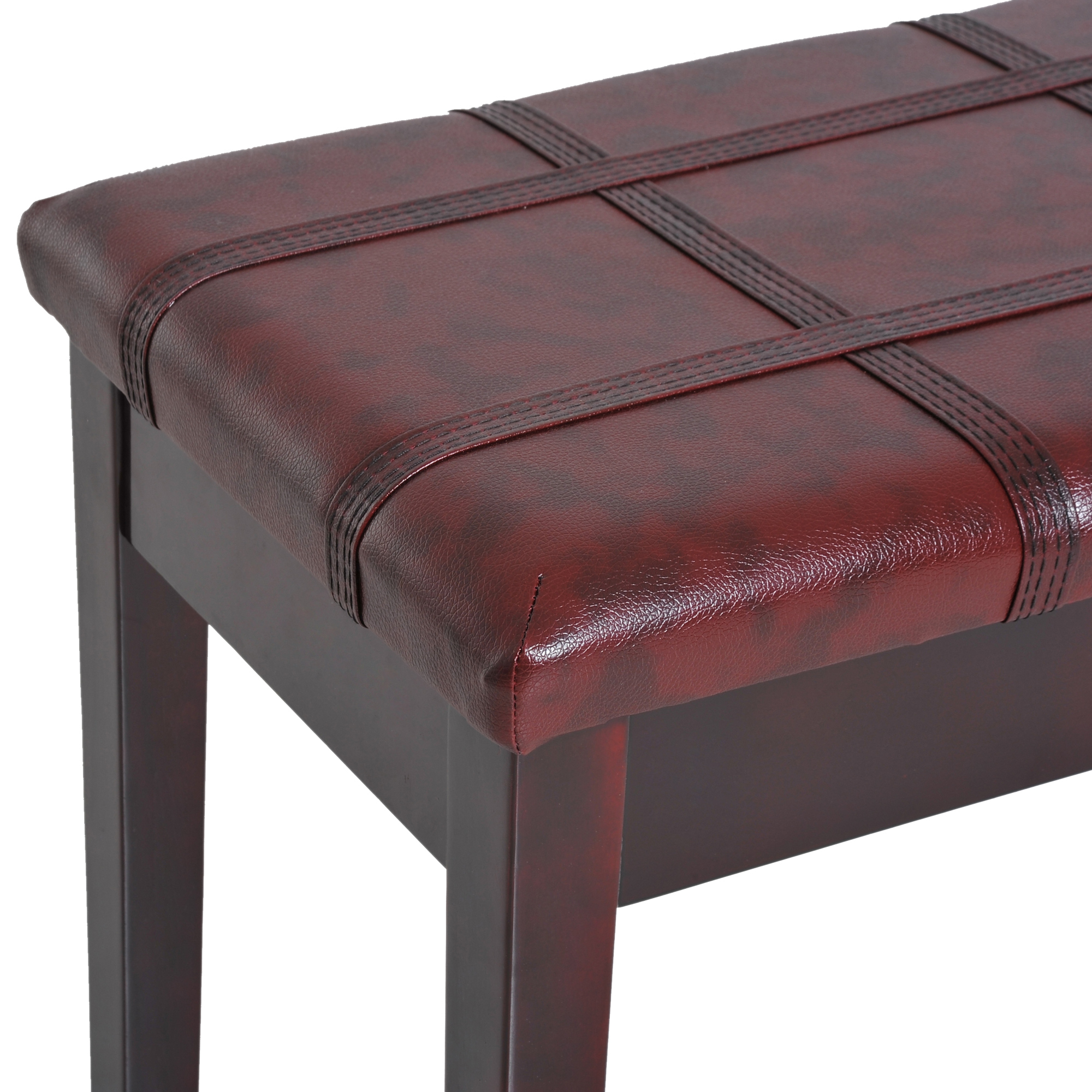 Two-Person-Lift-Top-Piano-Storage-Bench-Faux-Leather-Keyboard-Stool-Birchwood thumbnail 25