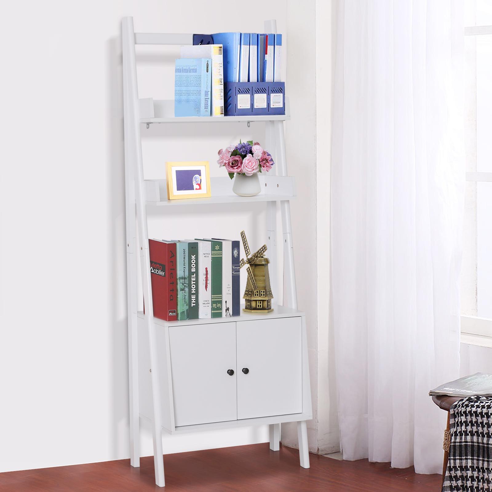 Details About Homcom 3 Tier Freestanding Shelf Unit Ladder Bookcase Display Stand W Cabinet