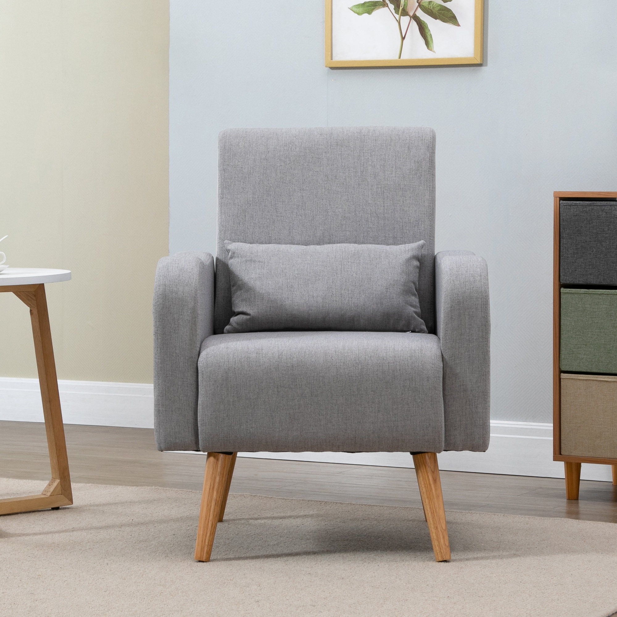 Homcom Nordic Armchair Solid Wood Curved Chair Living Room Linen 5056029835562 Ebay