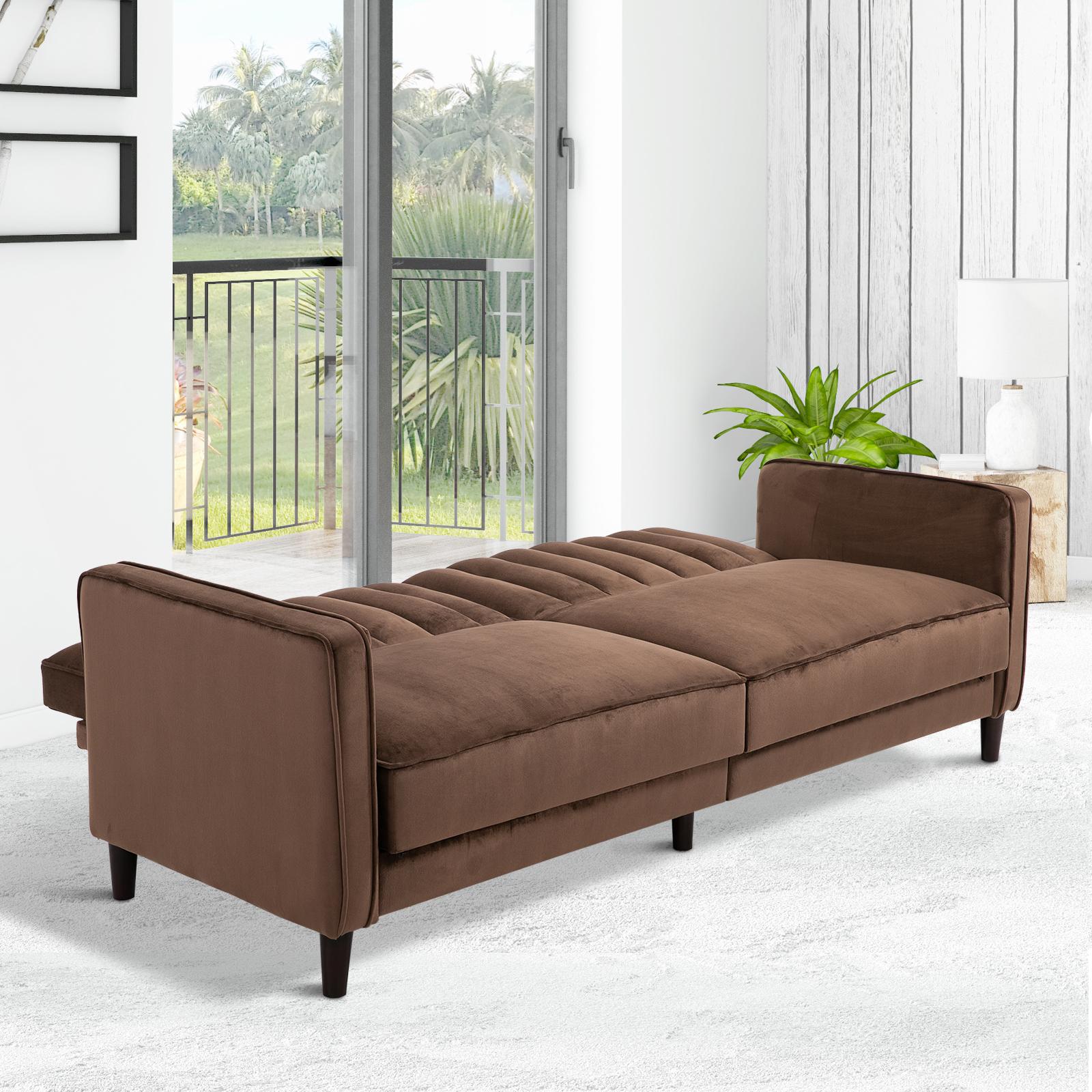 Sofa Bed Recliner Adjustable Back Convertible w/ Cushions ...