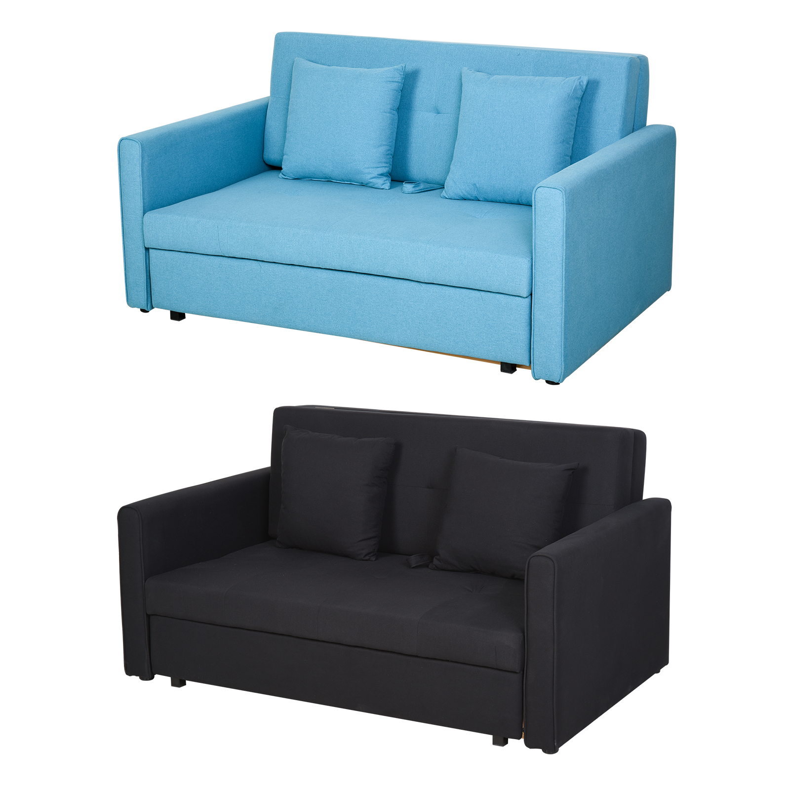 2 Seater Storage Sofa Convertible Bed Wood Frame Padding Compact Bedroom Ebay