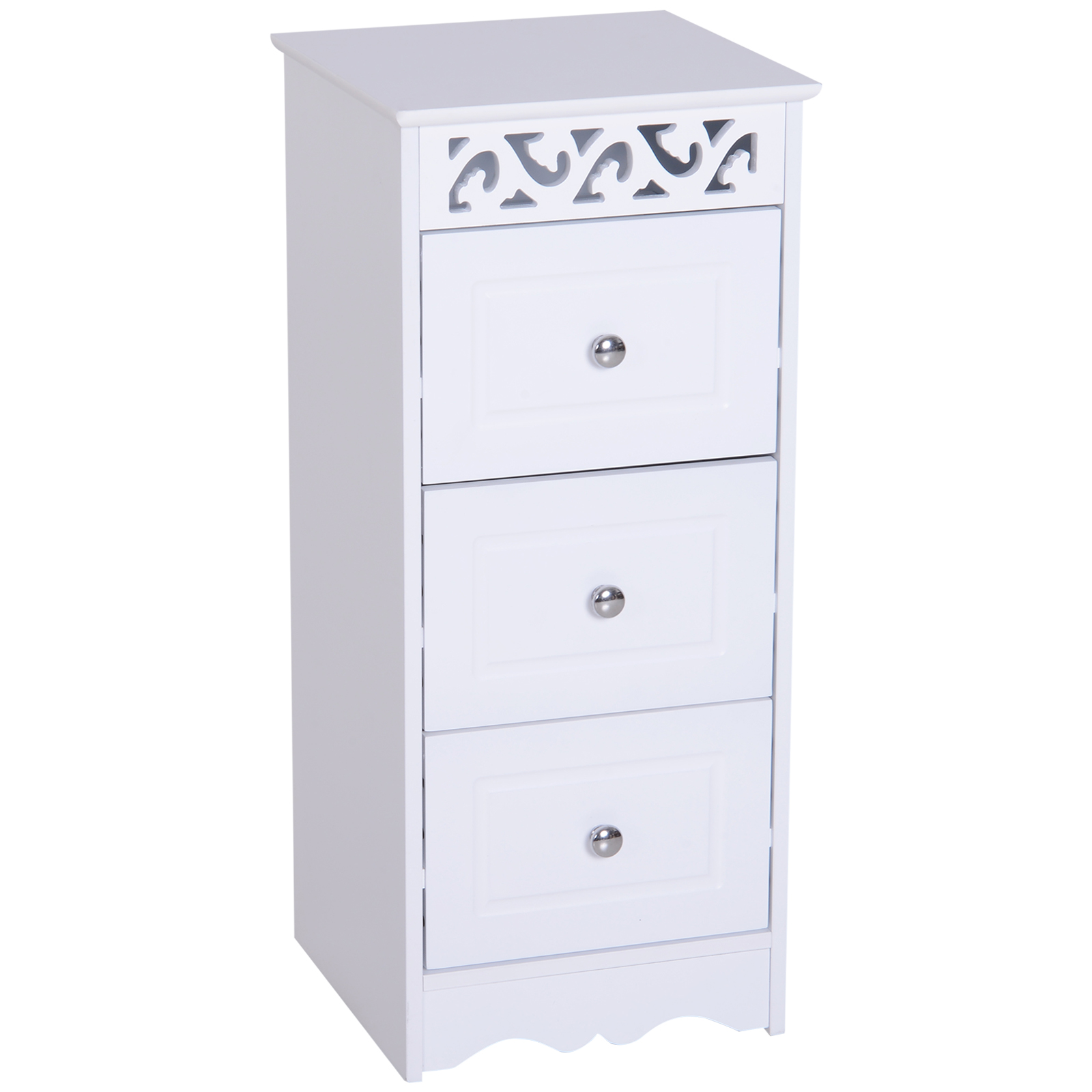 Bathroom-Cabinet-Corner-Shelf-Unit-Drawers-Tower-Cupboard-Wood-Storage-White thumbnail 11