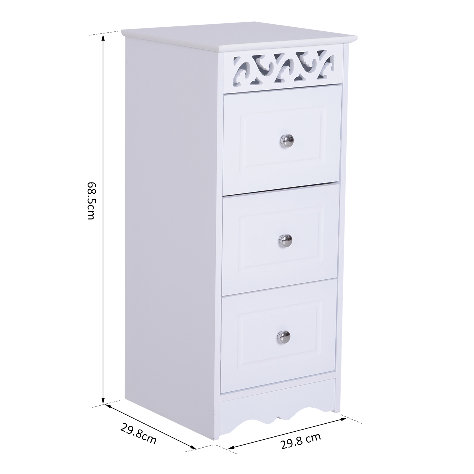 Bathroom-Cabinet-Corner-Shelf-Unit-Drawers-Tower-Cupboard-Wood-Storage-White thumbnail 3