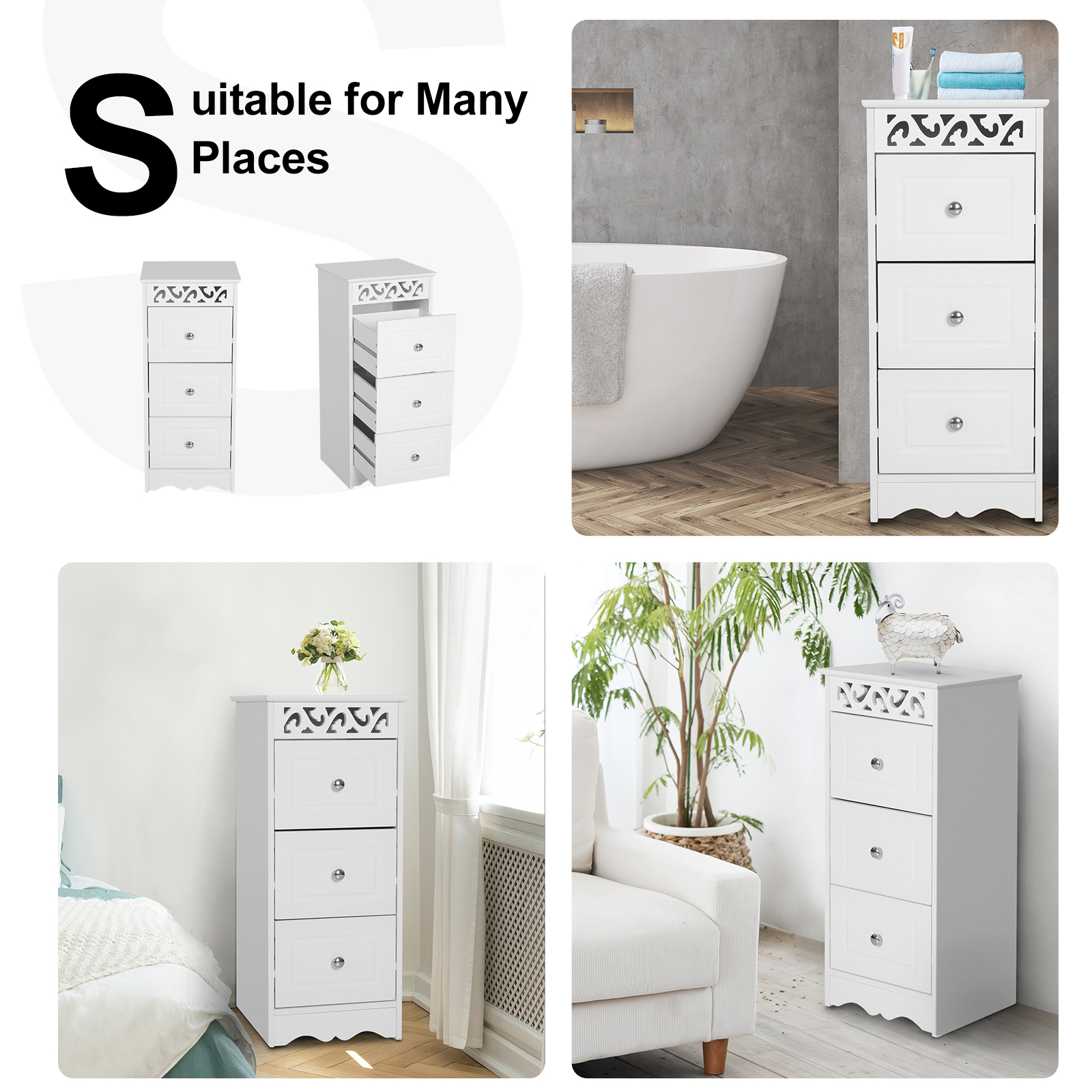 Bathroom-Cabinet-Corner-Shelf-Unit-Drawers-Tower-Cupboard-Wood-Storage-White thumbnail 6