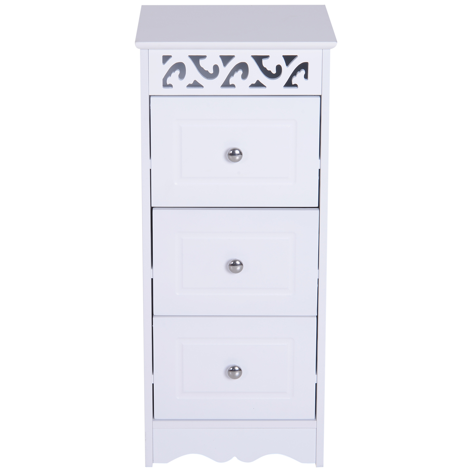 Bathroom-Cabinet-Corner-Shelf-Unit-Drawers-Tower-Cupboard-Wood-Storage-White thumbnail 7