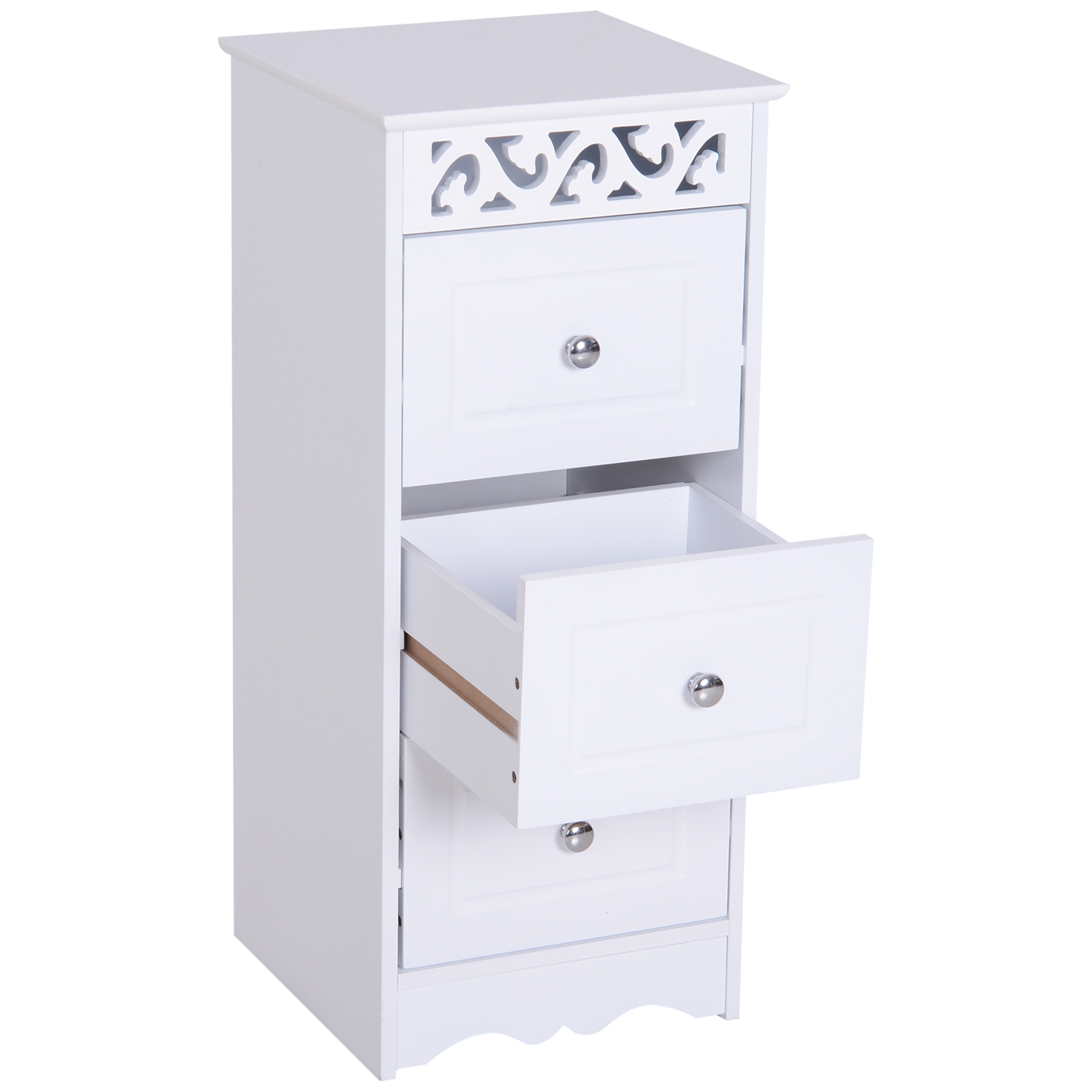 Bathroom-Cabinet-Corner-Shelf-Unit-Drawers-Tower-Cupboard-Wood-Storage-White thumbnail 8