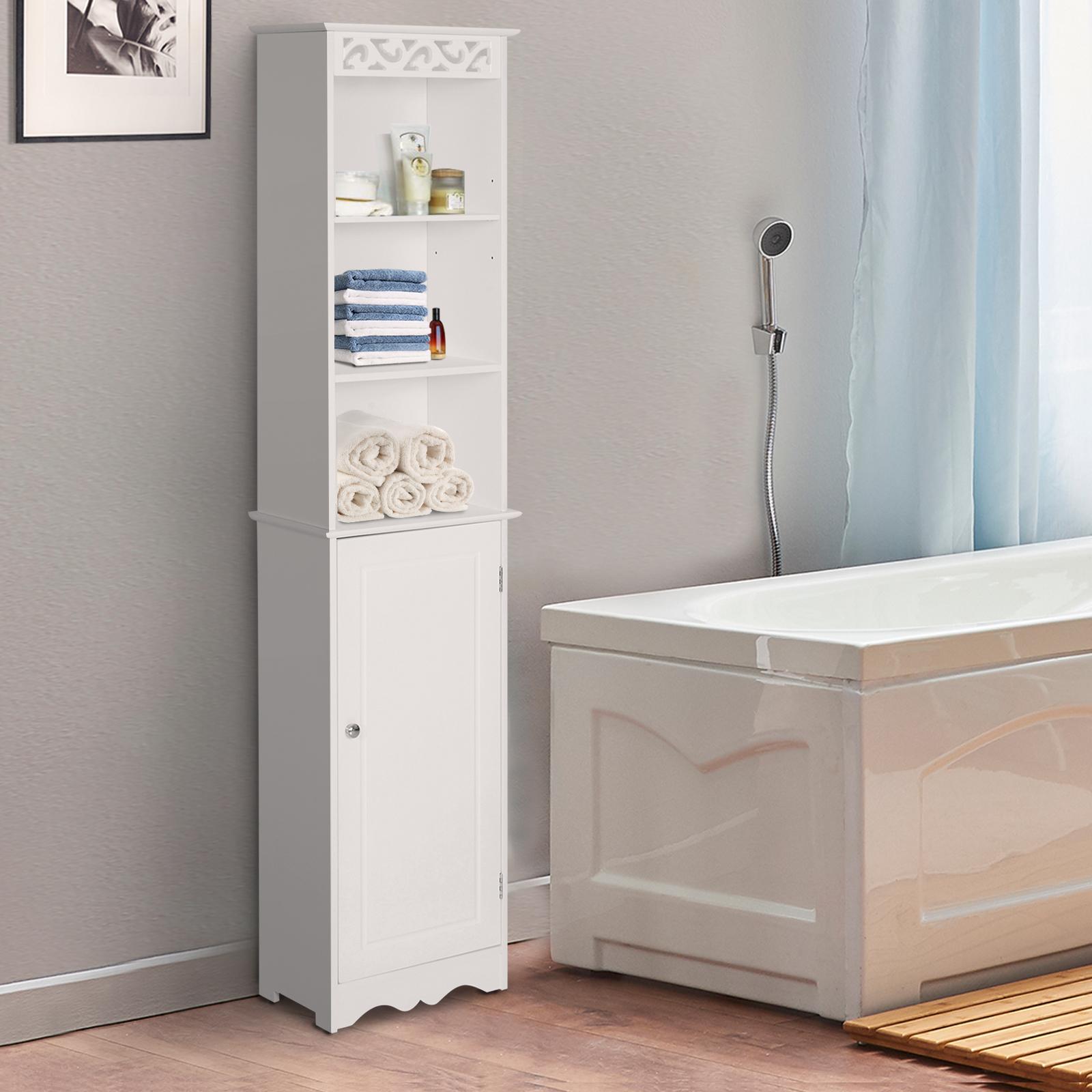Homcom Tall Bathroom Cabinet Corner Shelf Unit Tower Cupboard Wood Storage Ebay