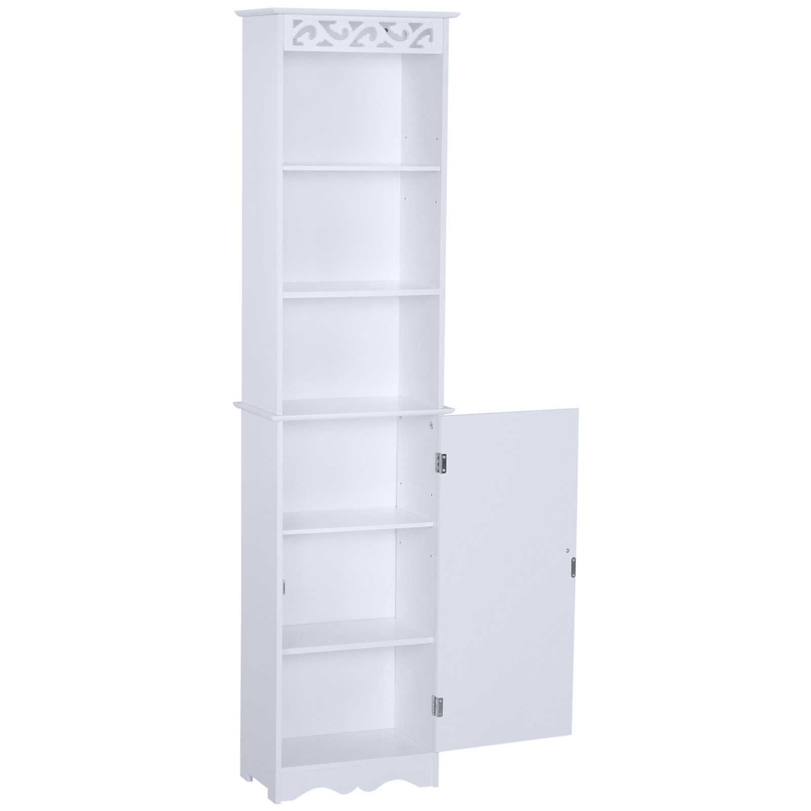 Bathroom-Cabinet-Corner-Shelf-Unit-Drawers-Tower-Cupboard-Wood-Storage-White thumbnail 15