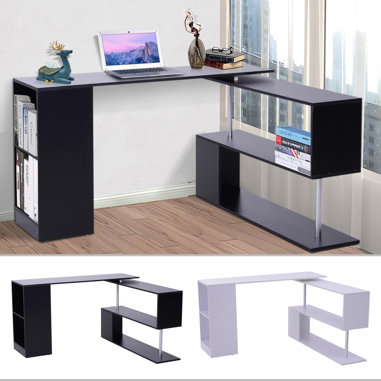 360 Rotating Corner Desk Storage Shelf Combo Workstation L Shaped Table Office Ebay