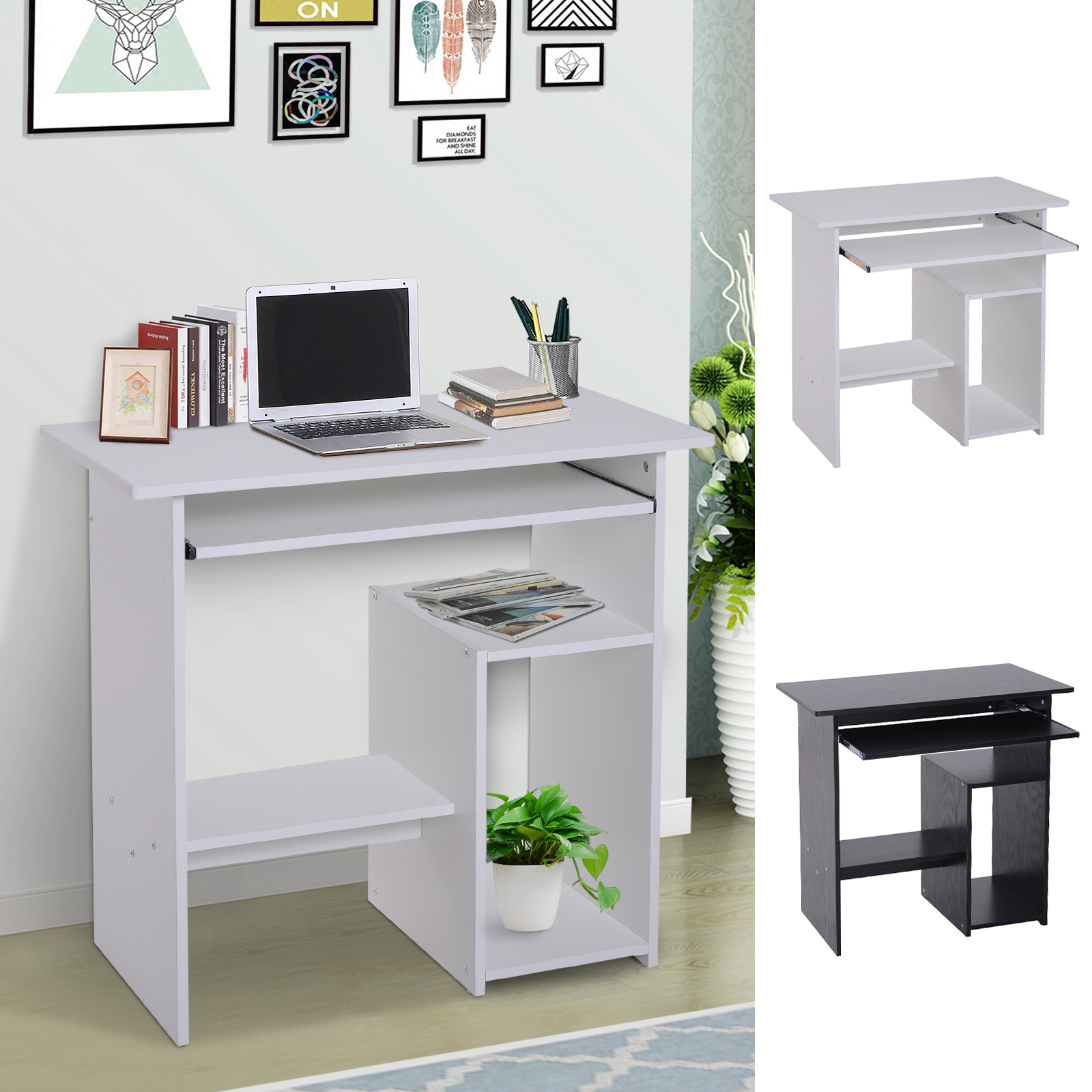 Compact Small Computer Table Wooden Desk Keyboard Tray Storage Shelf Corner Ebay