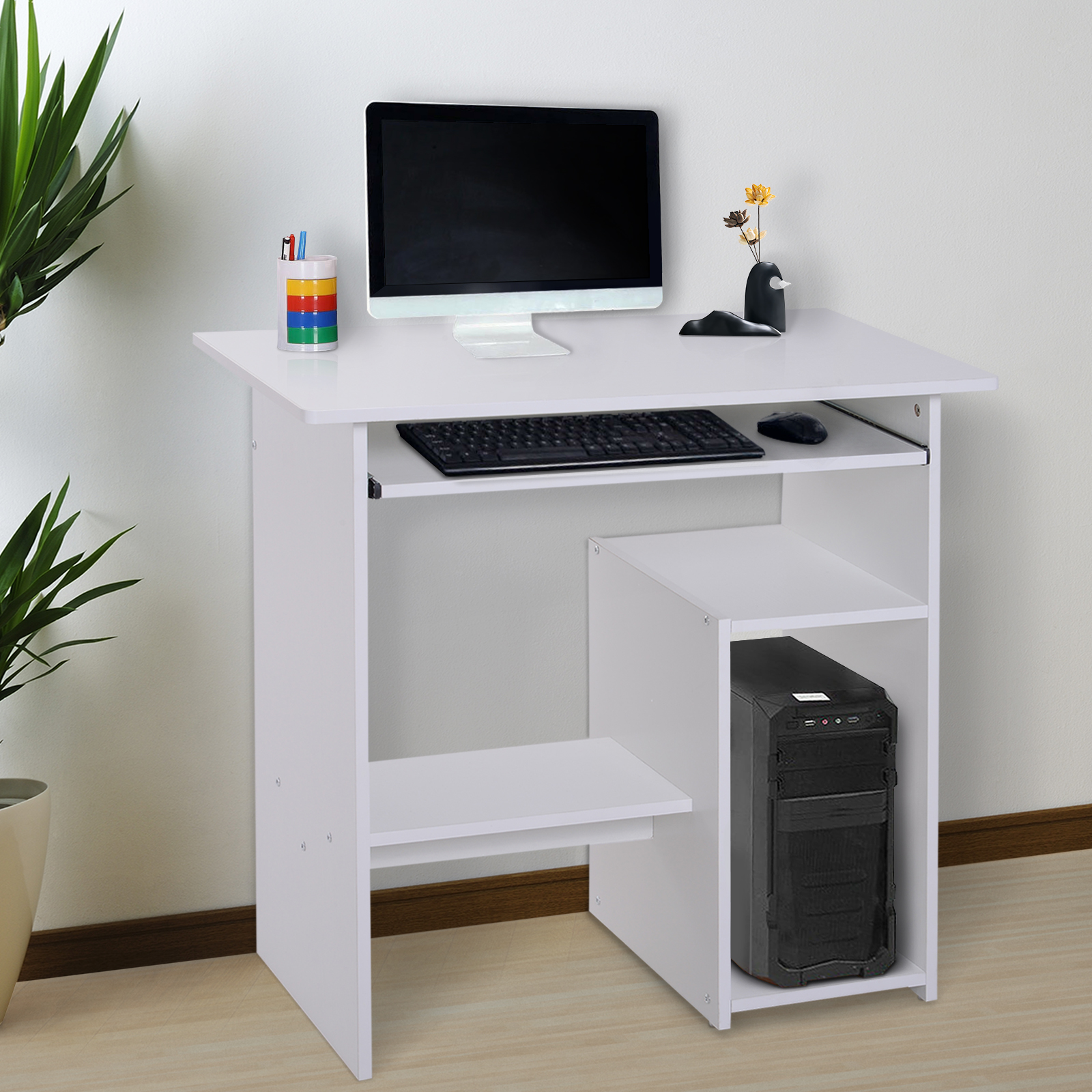 Picture of: Homcom Compact Small Computer Table Wooden Desk Keyboard Tray Storage White Ebay