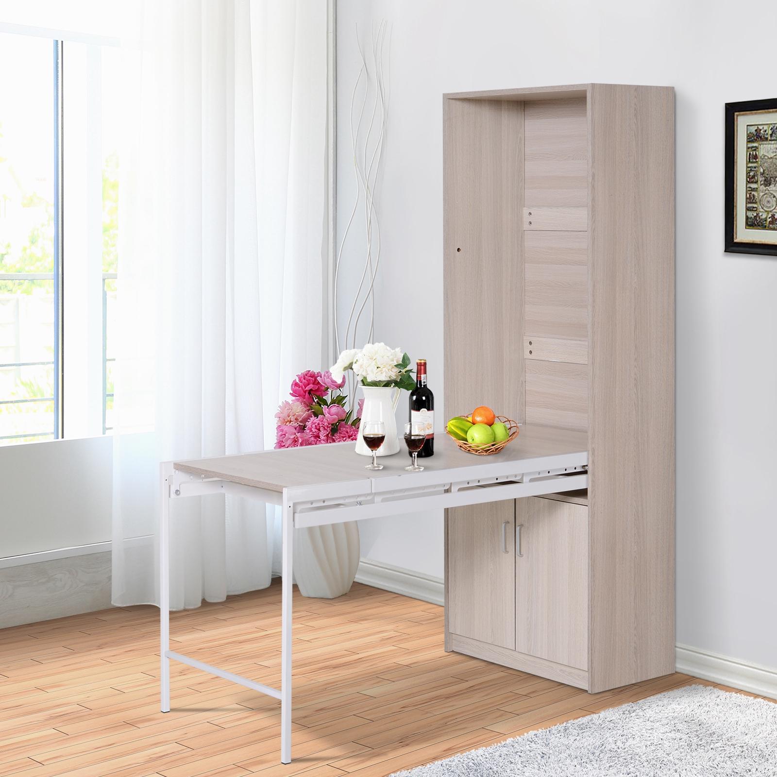 Homcom 2 In 1 Storage Bookcase W Drop Leaf Table Freestanding Oak Wood Color Ebay