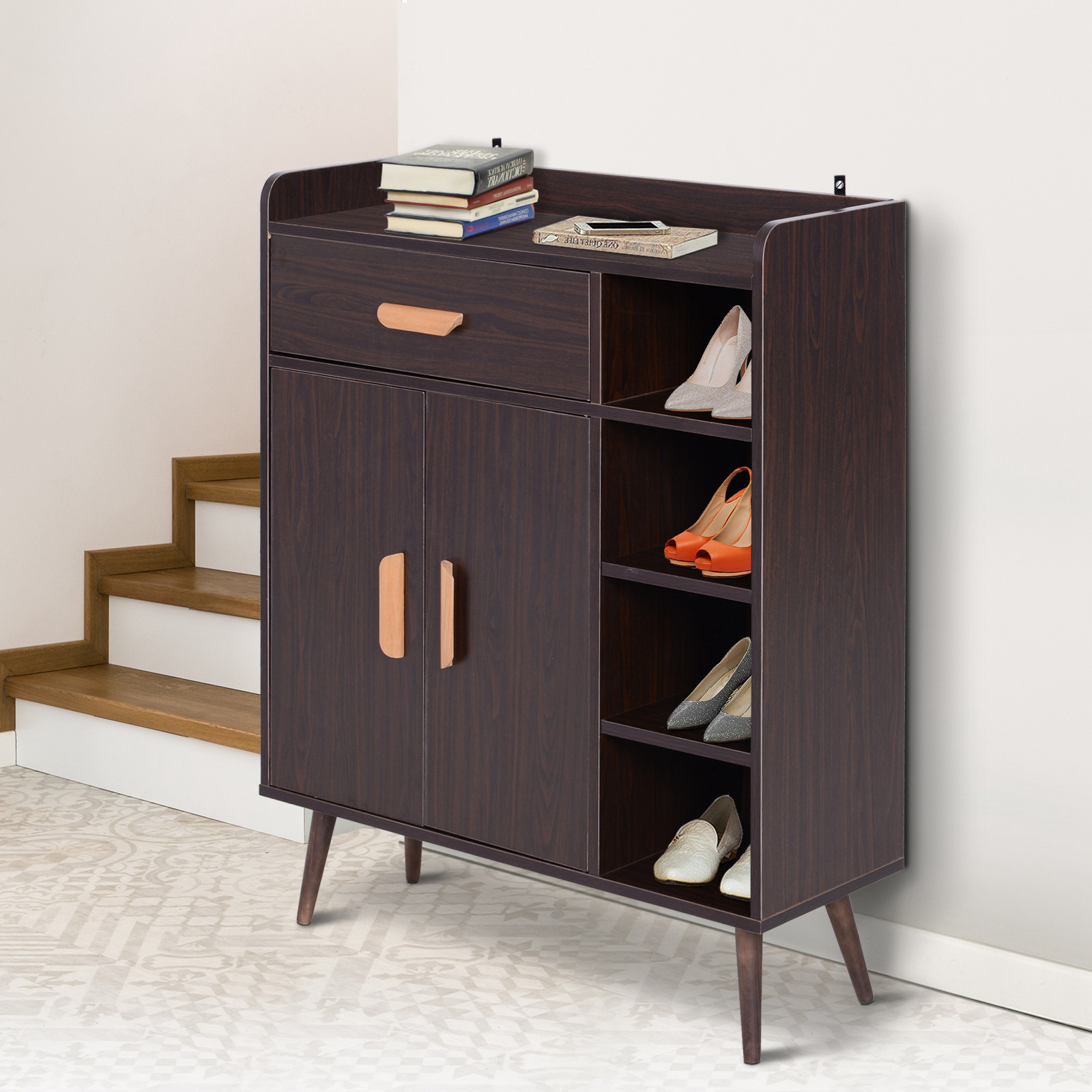 thumbnail 7 - Side-Cabinet-Hallway-Storage-Unit-Console-Table-Entrance-Shelf-Cupboard-2-color